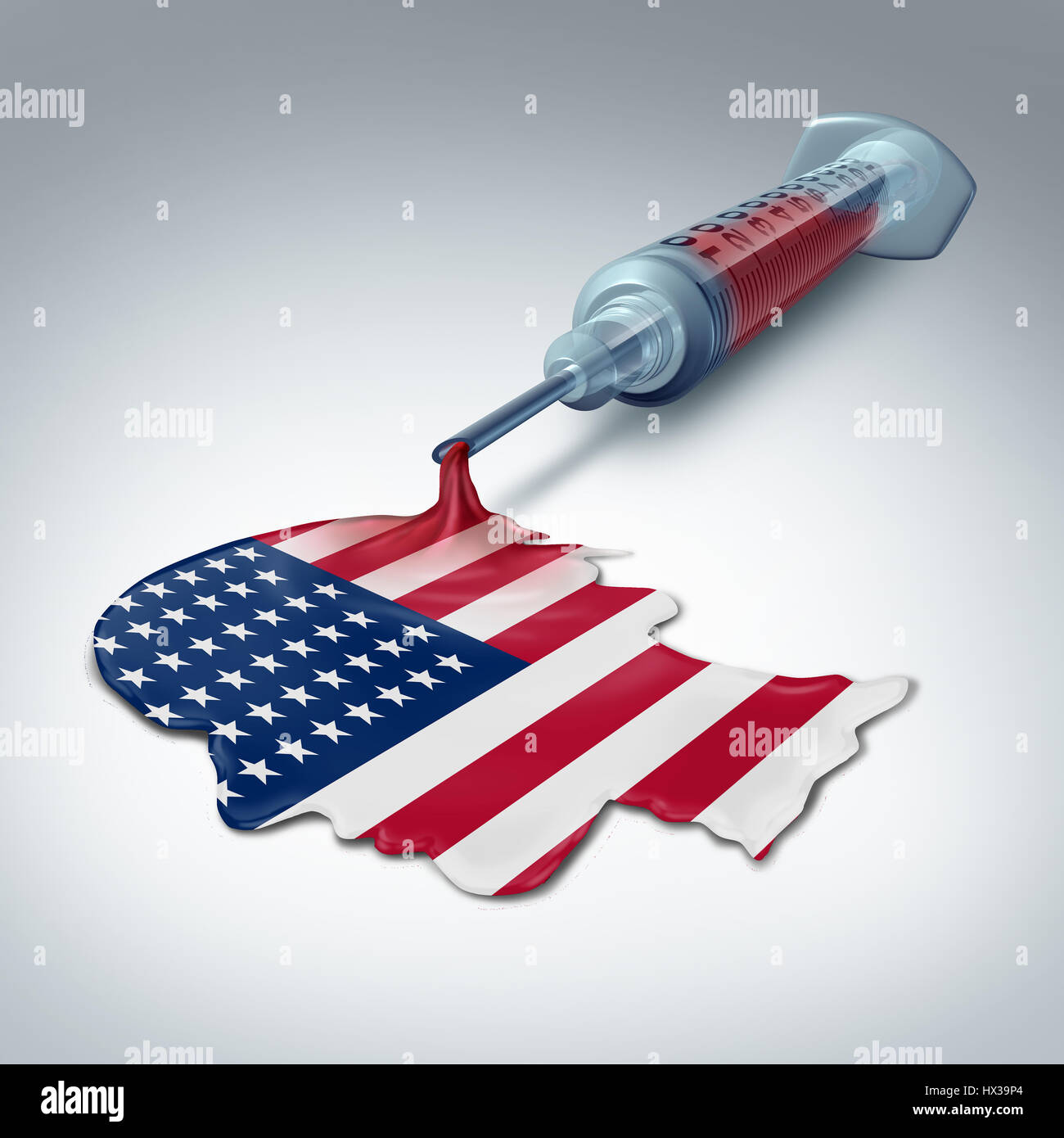 American health care concept as a syringe releasing liquid shaped as a human head and flag of the United States - Stock Image
