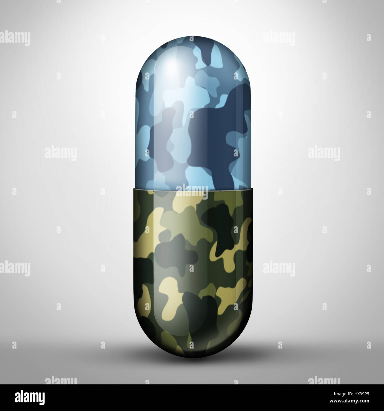 Veteran Health military medicine for soldier medical care as ptsd illness as a pill with army navy or marine camouflage - Stock Image