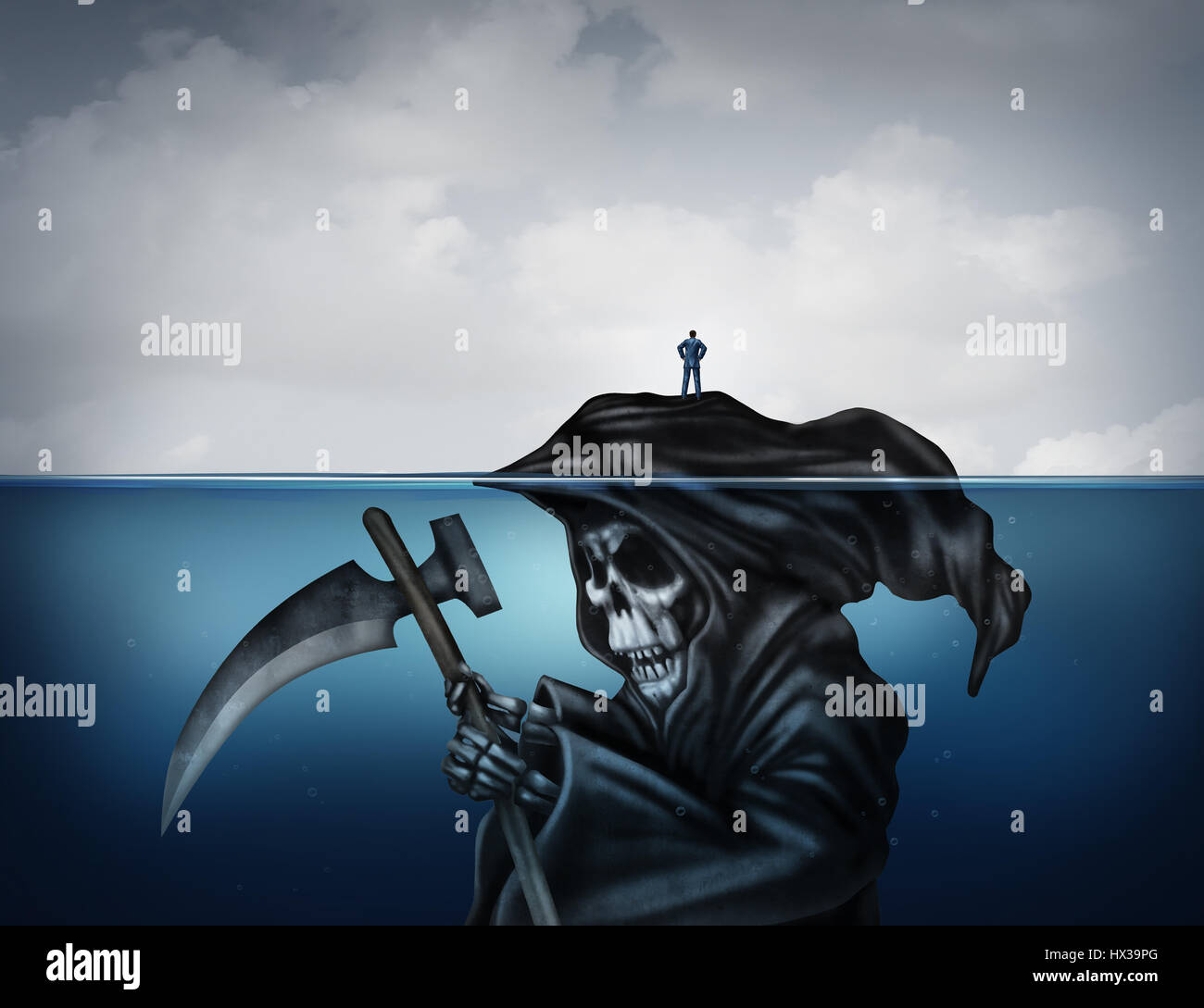 Death is looming concept or health risk and unknowingly have a false sense of security as a symbol in a 3D illustration - Stock Image