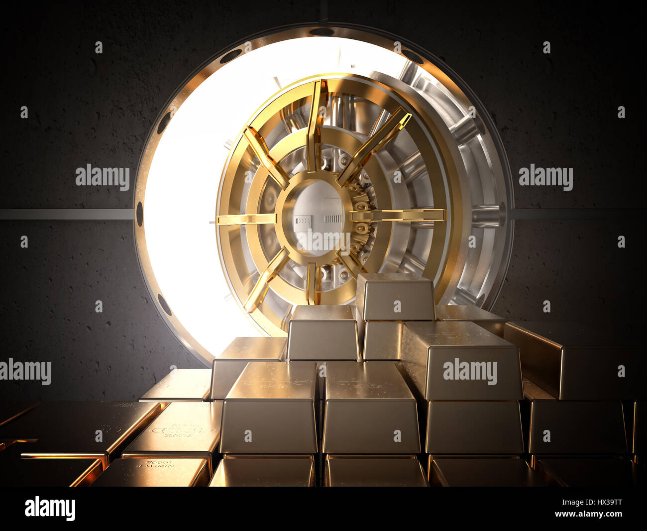 open vault and golden ingot 3d rendering image - Stock Image