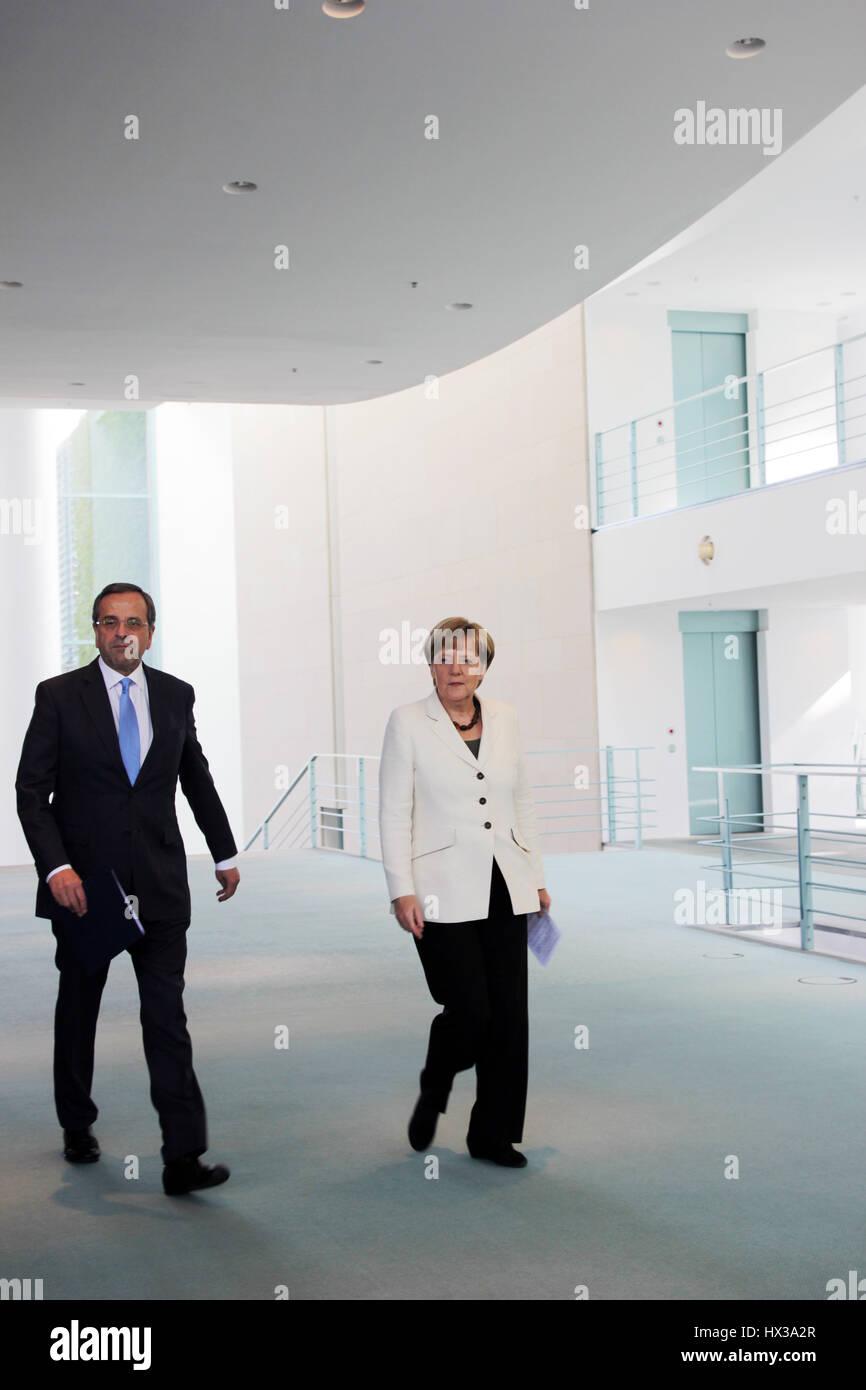 Berlin, Germany, September 23rd, 2014: Prime Minister of Greece Antonis Samaras for official visit. - Stock Image