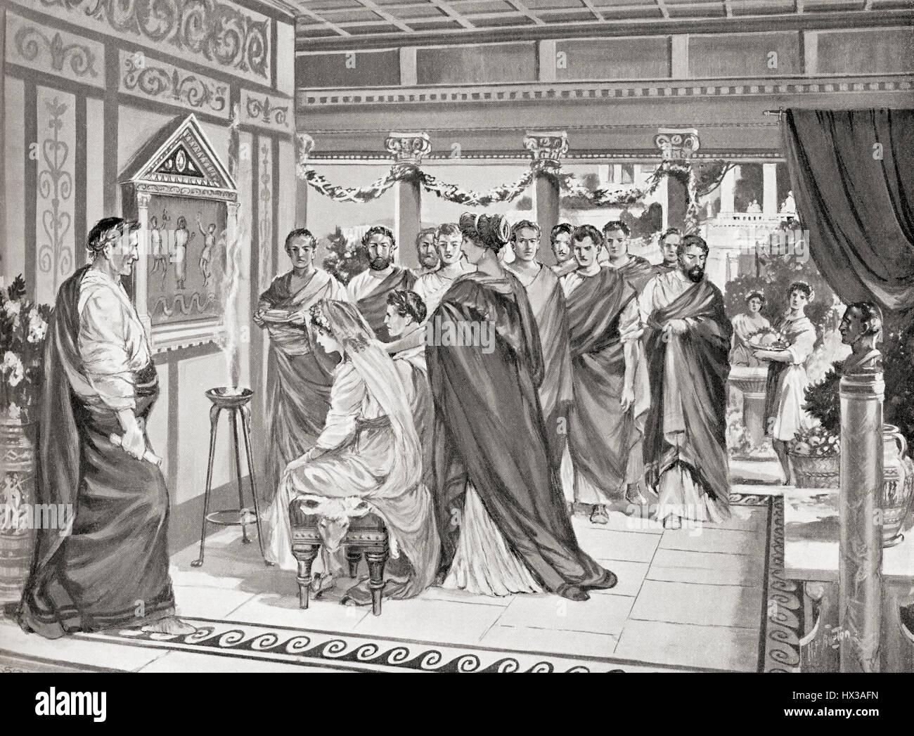 The marriage of Gnaeus Pompeius Magnus, 106 BC – 28 48 BC, aka Pompey to Julia, c. 76 BC–54 BC, daughter of Roman - Stock Image