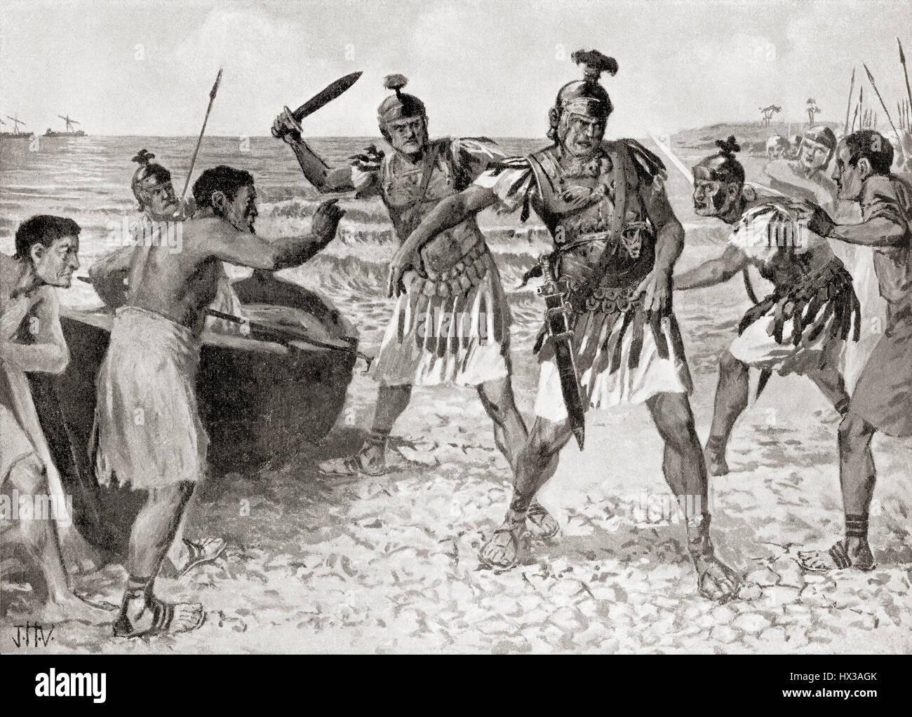 The murder of Gnaeus Pompeius Magnus, 106 BC – 28 48 BC aka Pompey,  by Septimius, Achillas and Savius  in 48 BC. - Stock Image