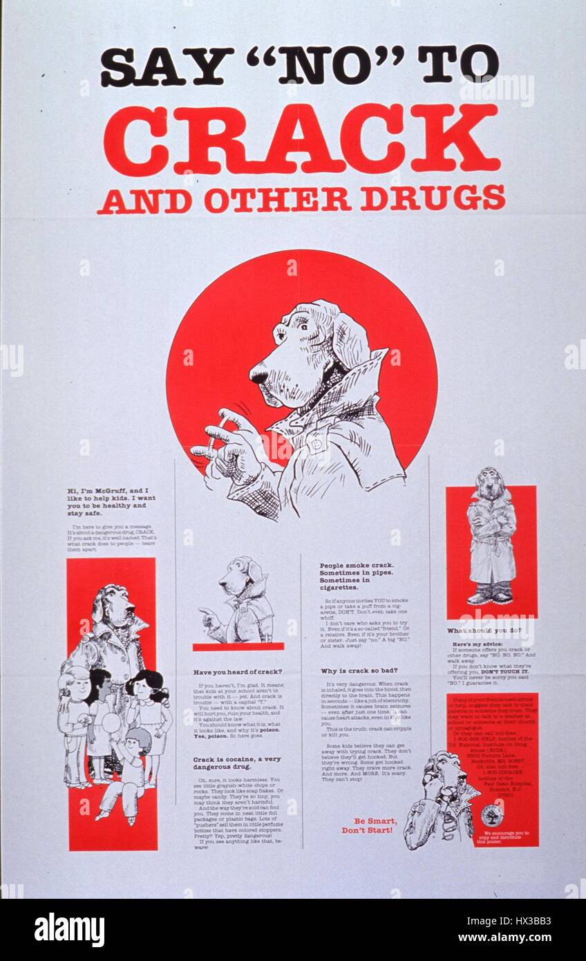 Poster issued by the United States Department of Education, depicting McGruff the Crime Dog in various situations, - Stock Image