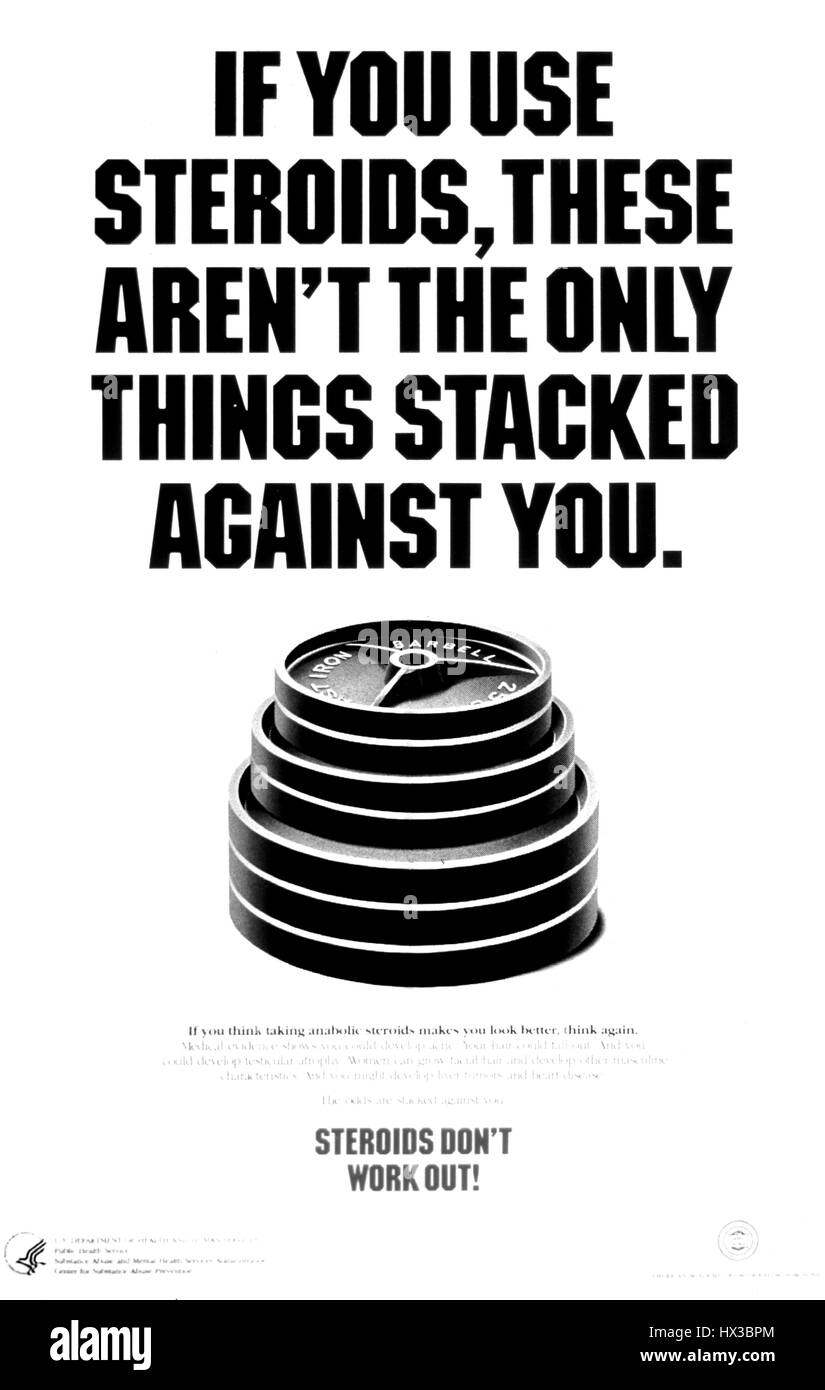 Poster issued by the Center for Substance Abuse Prevention, depicting a stack of weights, discouraging people from - Stock Image