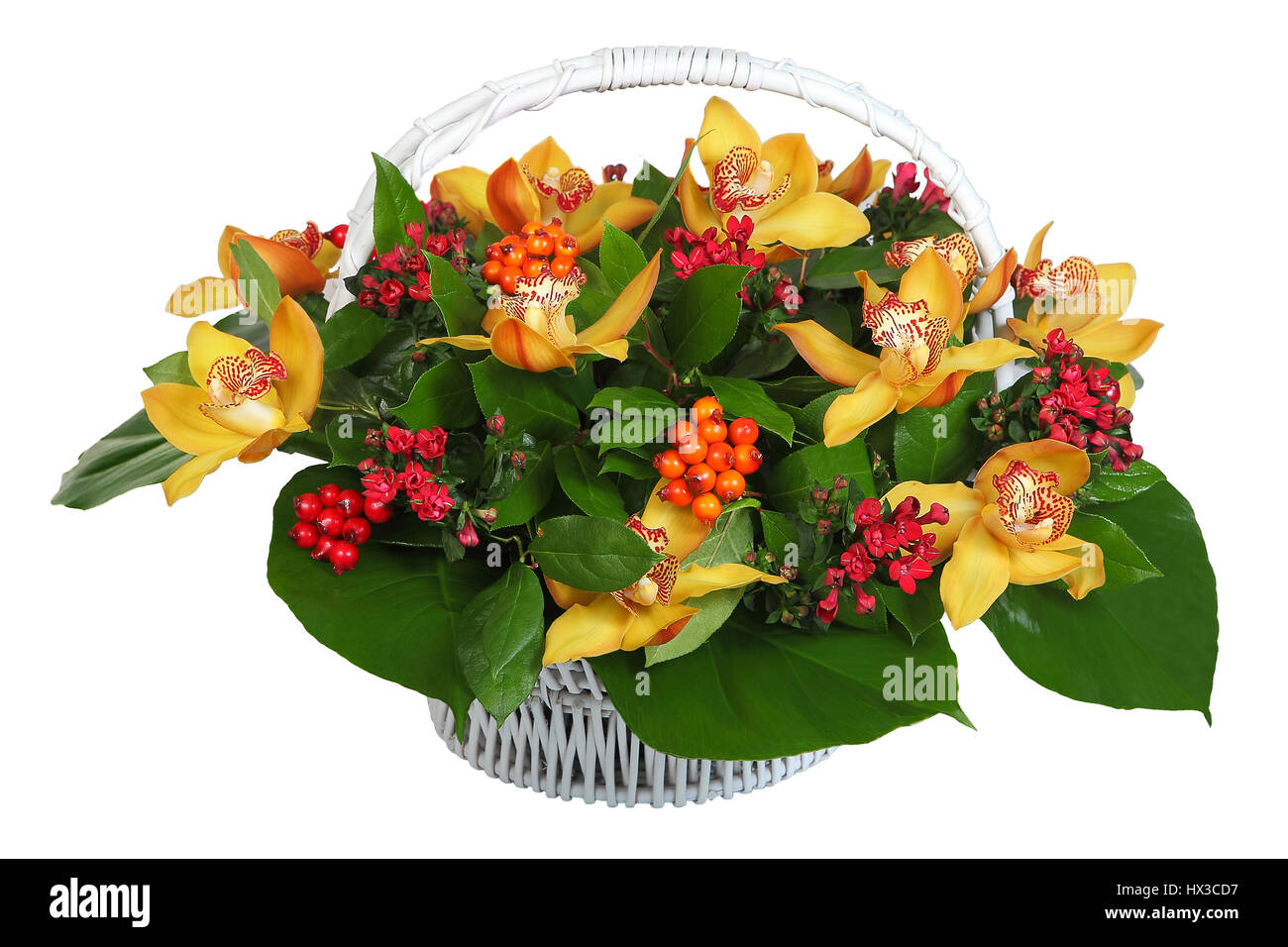 Bouquet Of Flowers In A White Wicker Basket Orchid Large Stock