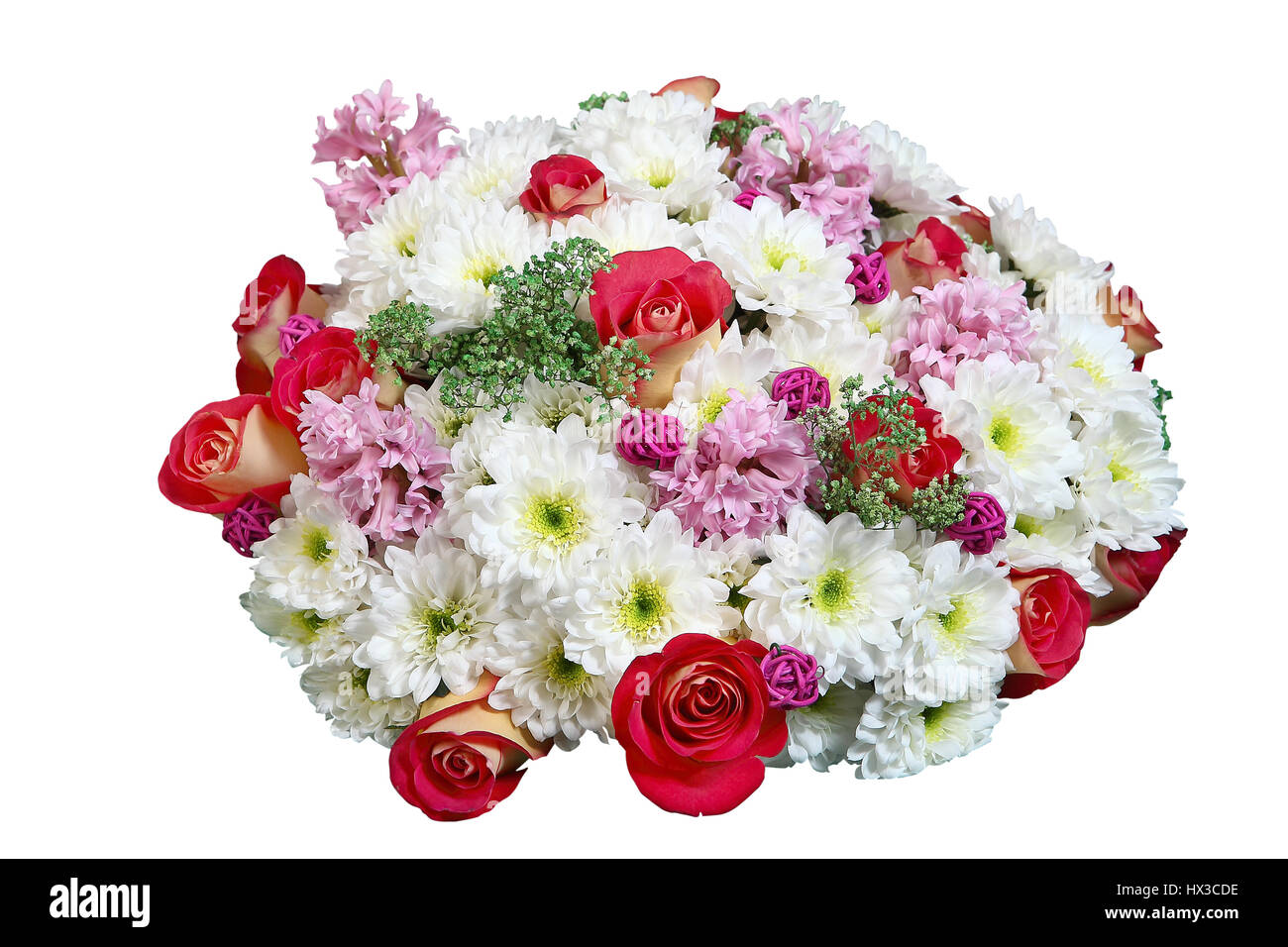 Flower Arrangement White Chrysanthemum And Red Roses In Floral