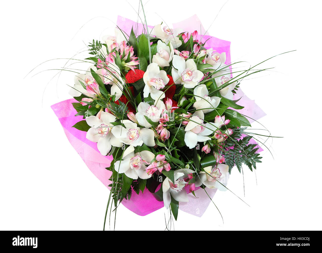 Flower arrangement, bouquet white orchids isolated on white Stock ...