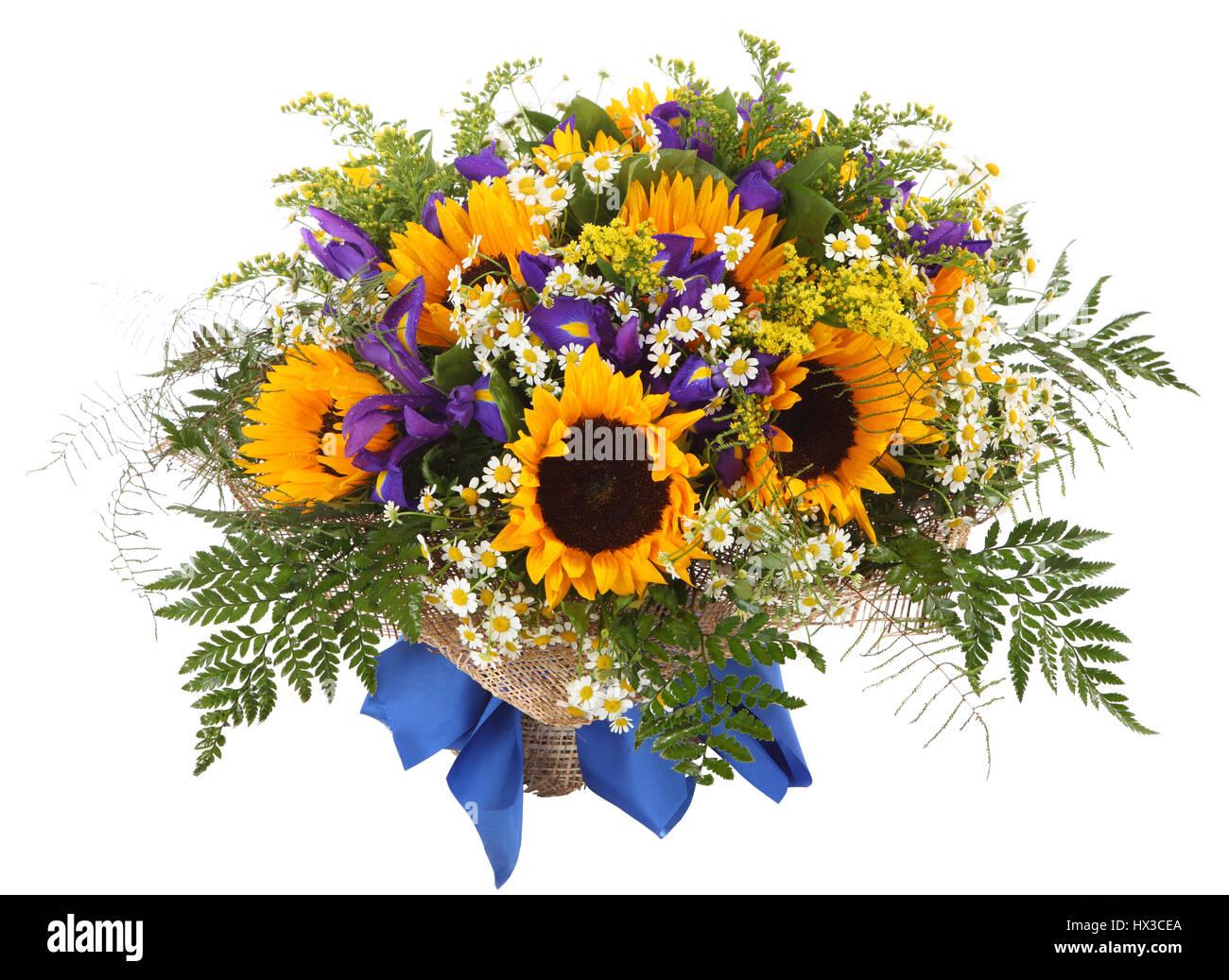 Flower arrangement of sunflowers daisies ferns and goldenrod stock flower arrangement of sunflowers daisies ferns and goldenrod floral composition izmirmasajfo