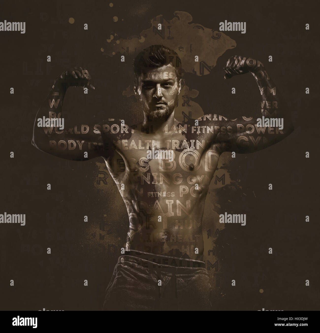 Athletic handsome man showing biceps muscles. Digitally generated image. Conceptual photo. - Stock Image