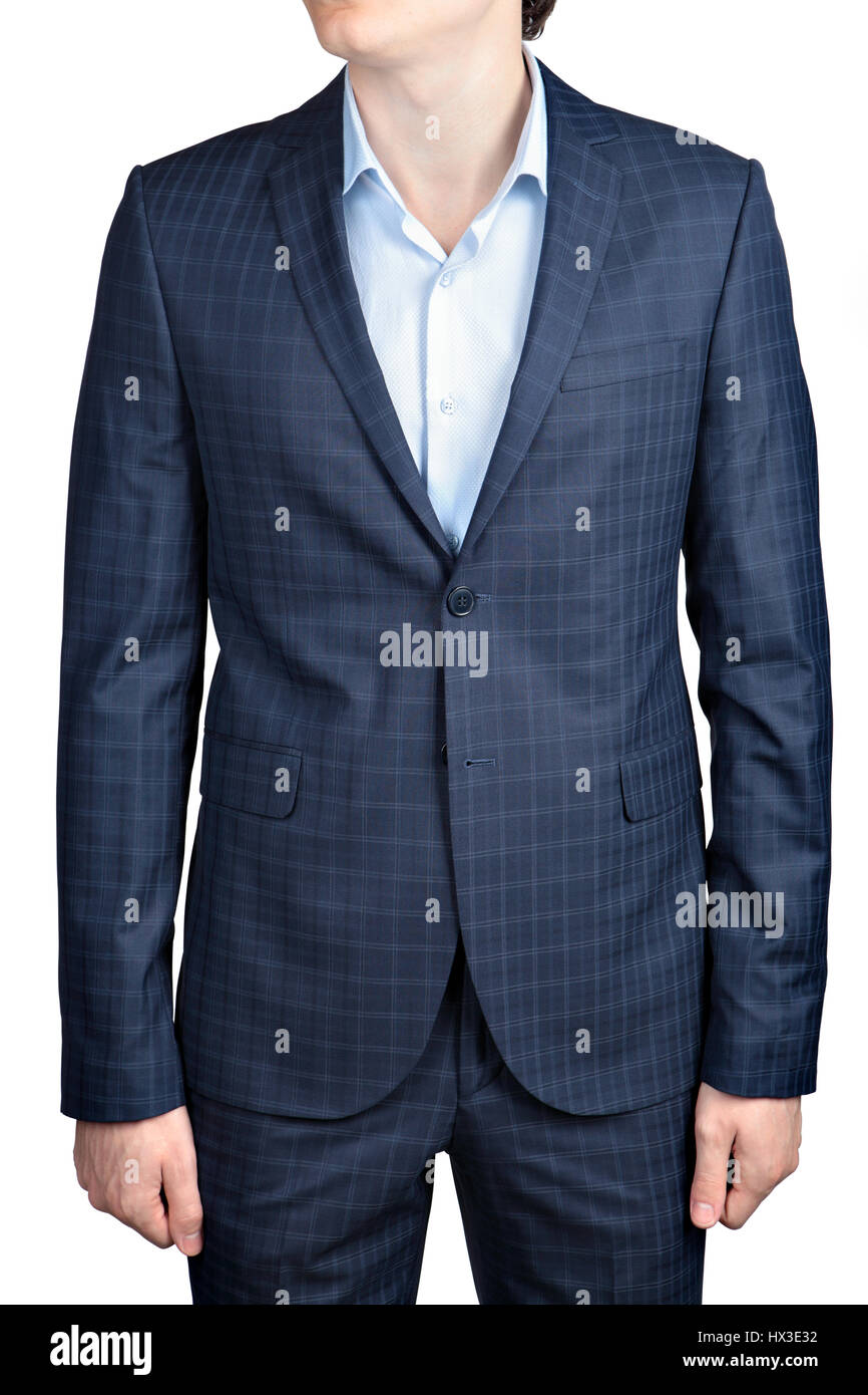 Checkered suit for men, formal wear, suit for prom, isolated image on white background - Stock Image