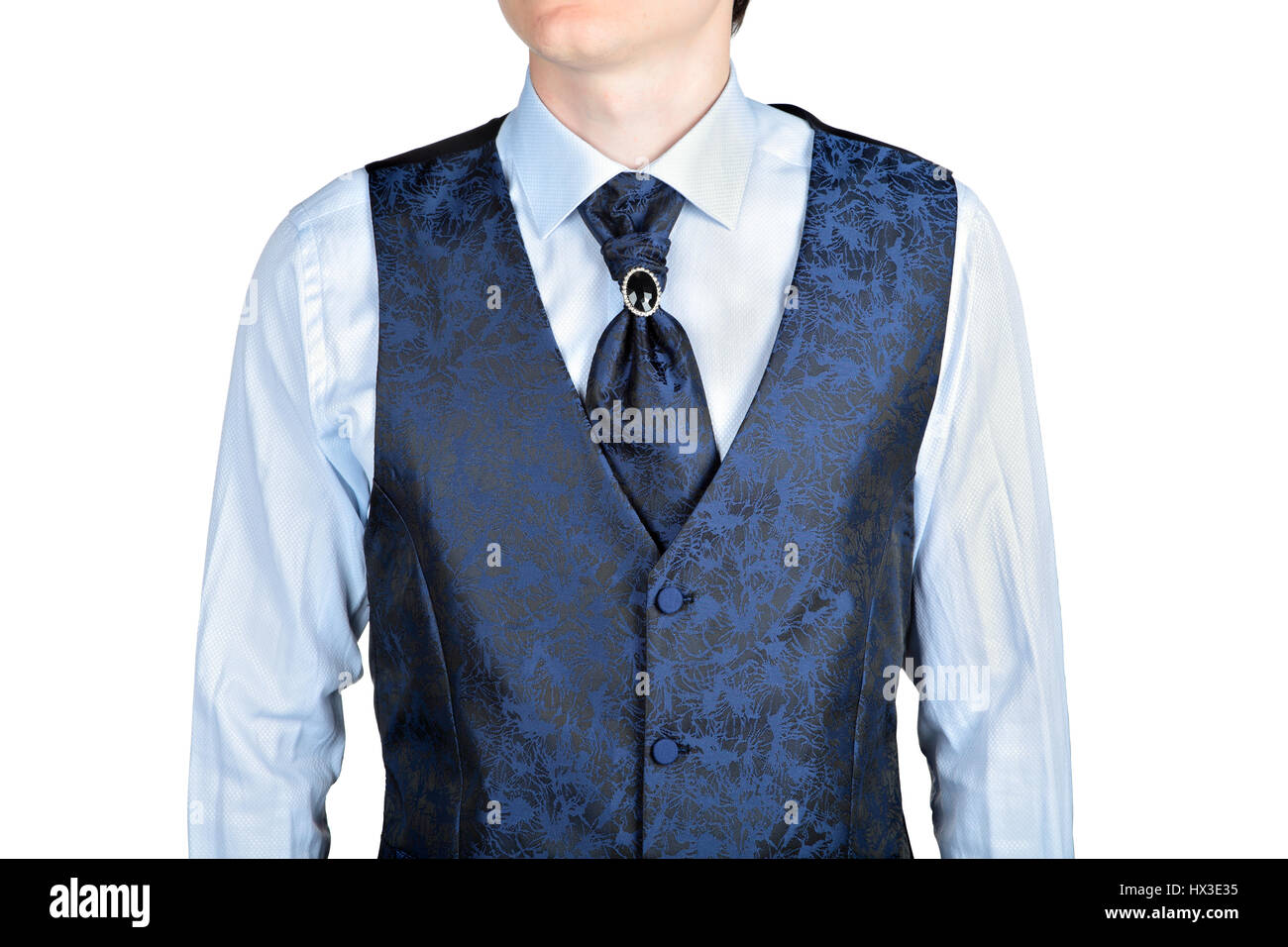 dark blue men wedding waistcoat jacquard fabric, isolated on white ...