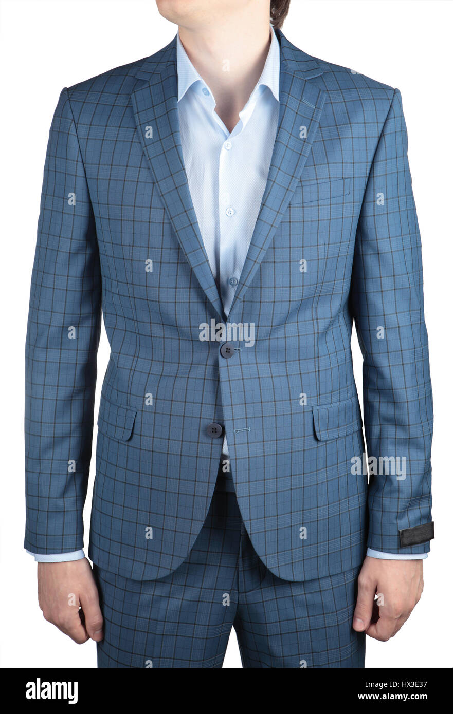 Stylish fashionable light blue plaid blazer men wedding suit ...