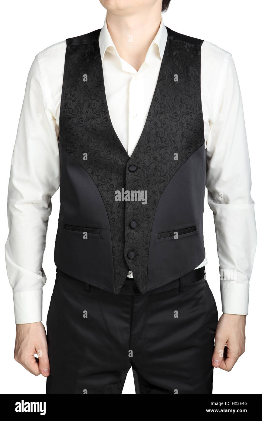 Dark gray patterned waistcoat wedding suit groom isolated on white ...