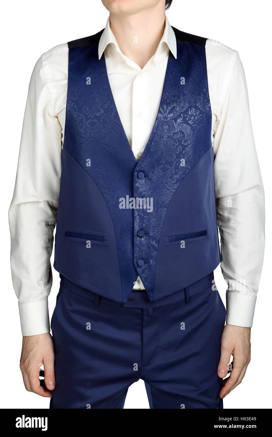 With blue patterned vest for mens wedding suit groom isolated on white background. - Stock Image