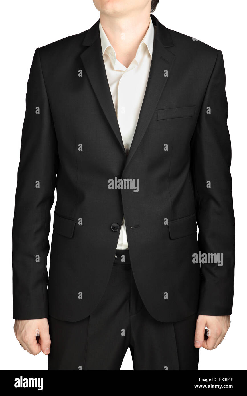 Grey mens jacket two buttons buttoned, white shirt without a tie, dress code cocktail isolated on white background. - Stock Image