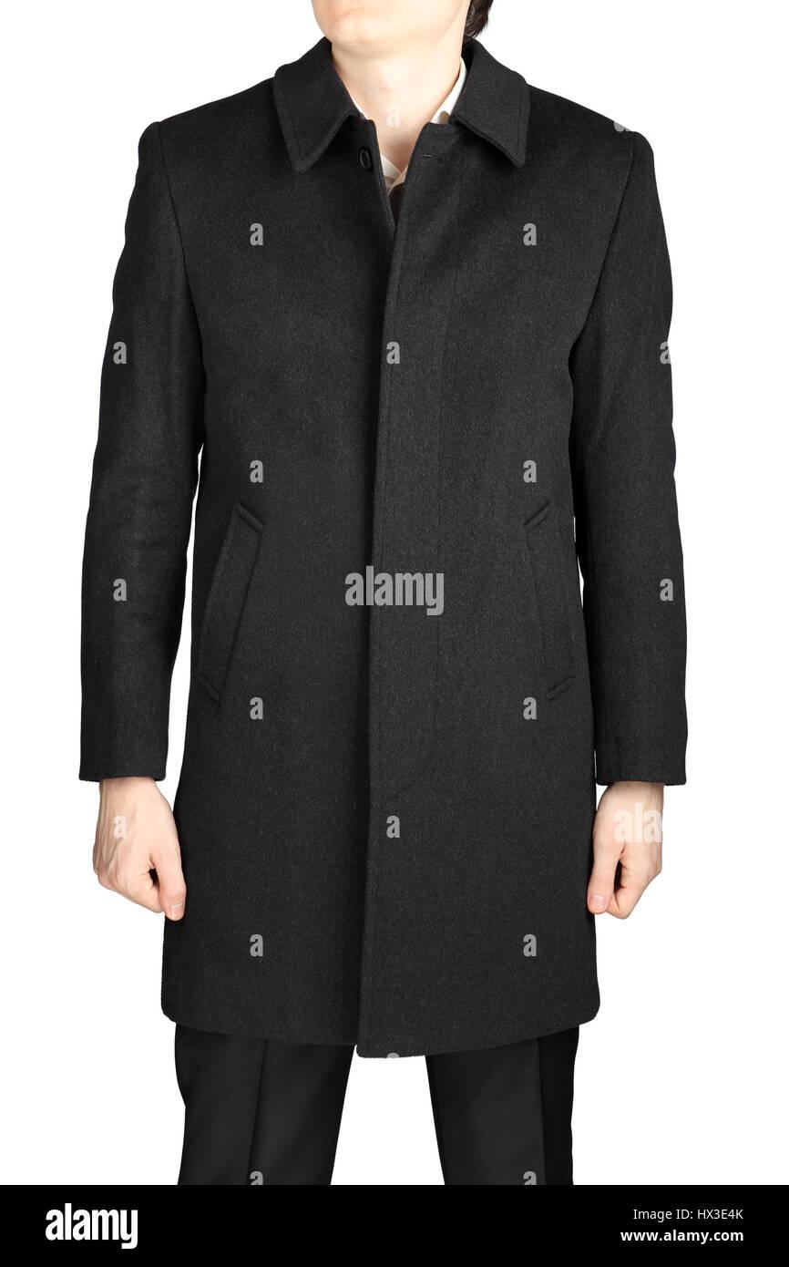 Demiseason mens cashmere coat of dark gray color, isolated on white background. - Stock Image