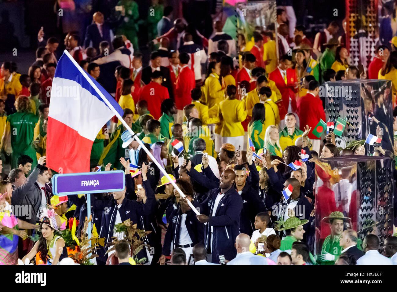 Rio de Janeiro, Brazil. 5 August 2016 Teddy Riner FRA flag bearer at the Olympic Summer Games Opening Ceremonies. - Stock Image