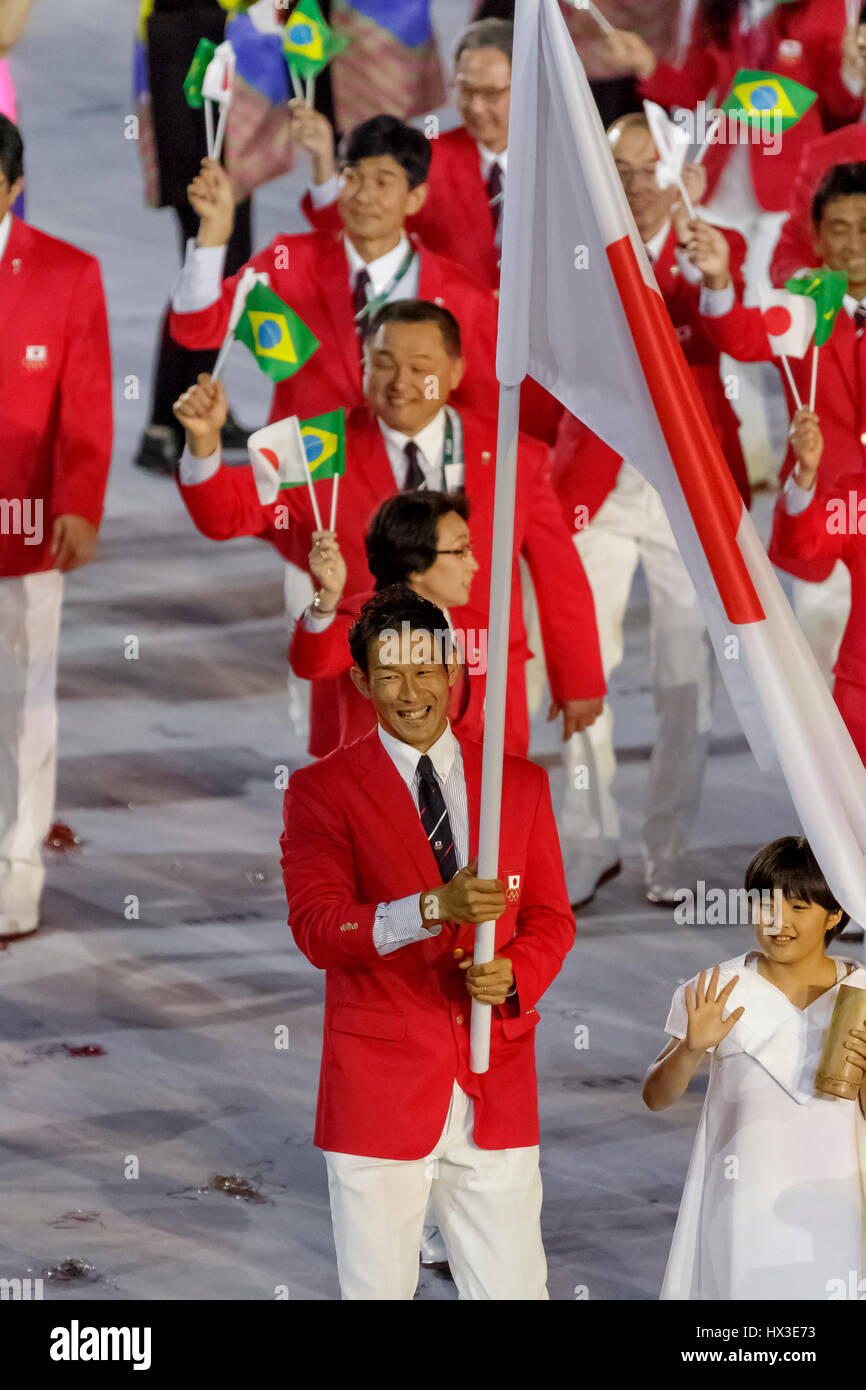 Rio de Janeiro, Brazil. 5 August 2016 Keisuke Ushiro JPN flag bearer at the Olympic Summer Games Opening Ceremonies. - Stock Image