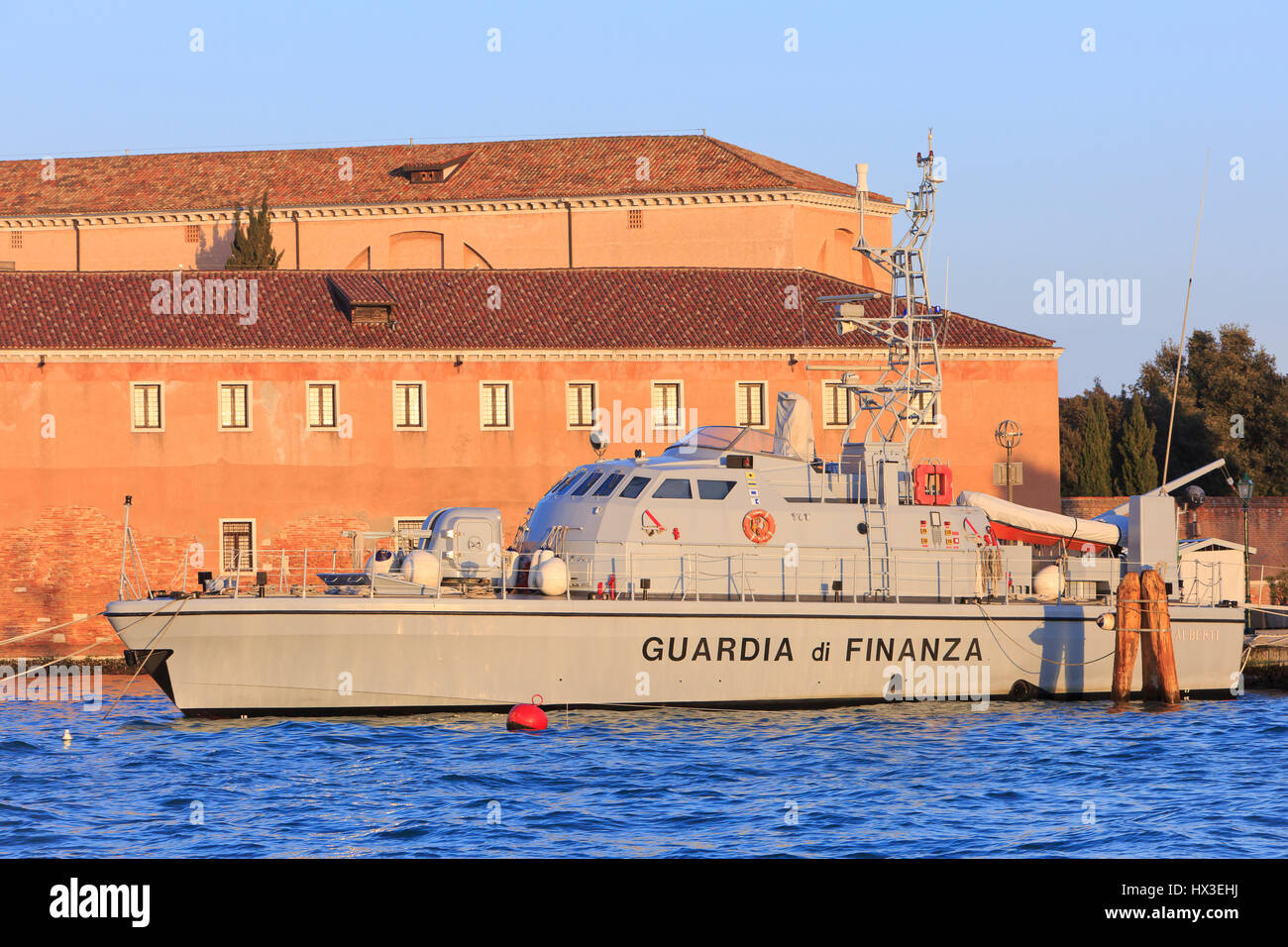 A patrol boat of the Guardia di Finanza (customs) moored at Giudecca Island in Venice, Italy - Stock Image