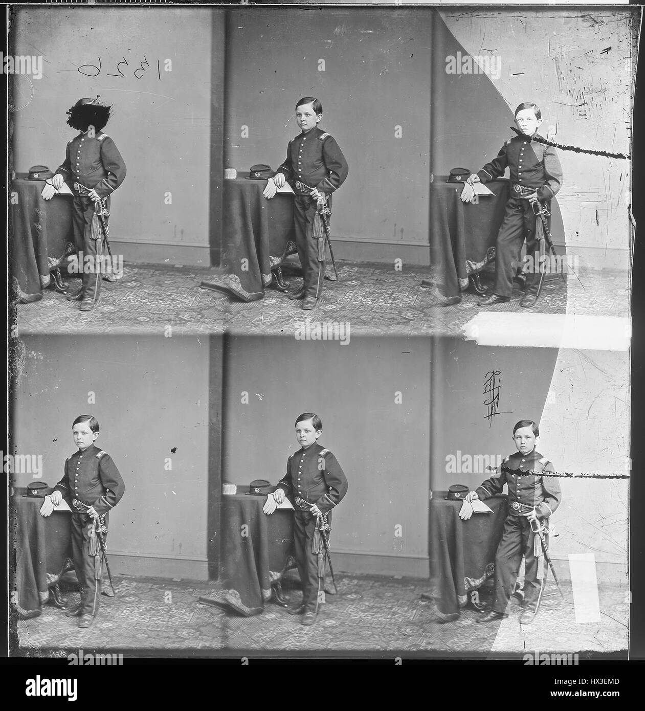 Full length standing portrait of Tad Lincoln, youngest child of Abraham Lincoln and Mary Todd Lincoln, as a child, - Stock Image