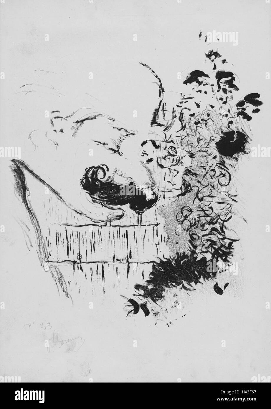 Abstract work on paper by French painter Pierre Bonnard, 1893. From the New York Public Library. - Stock Image