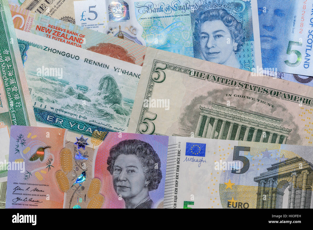 Foreign Currency banknotes - Stock Image