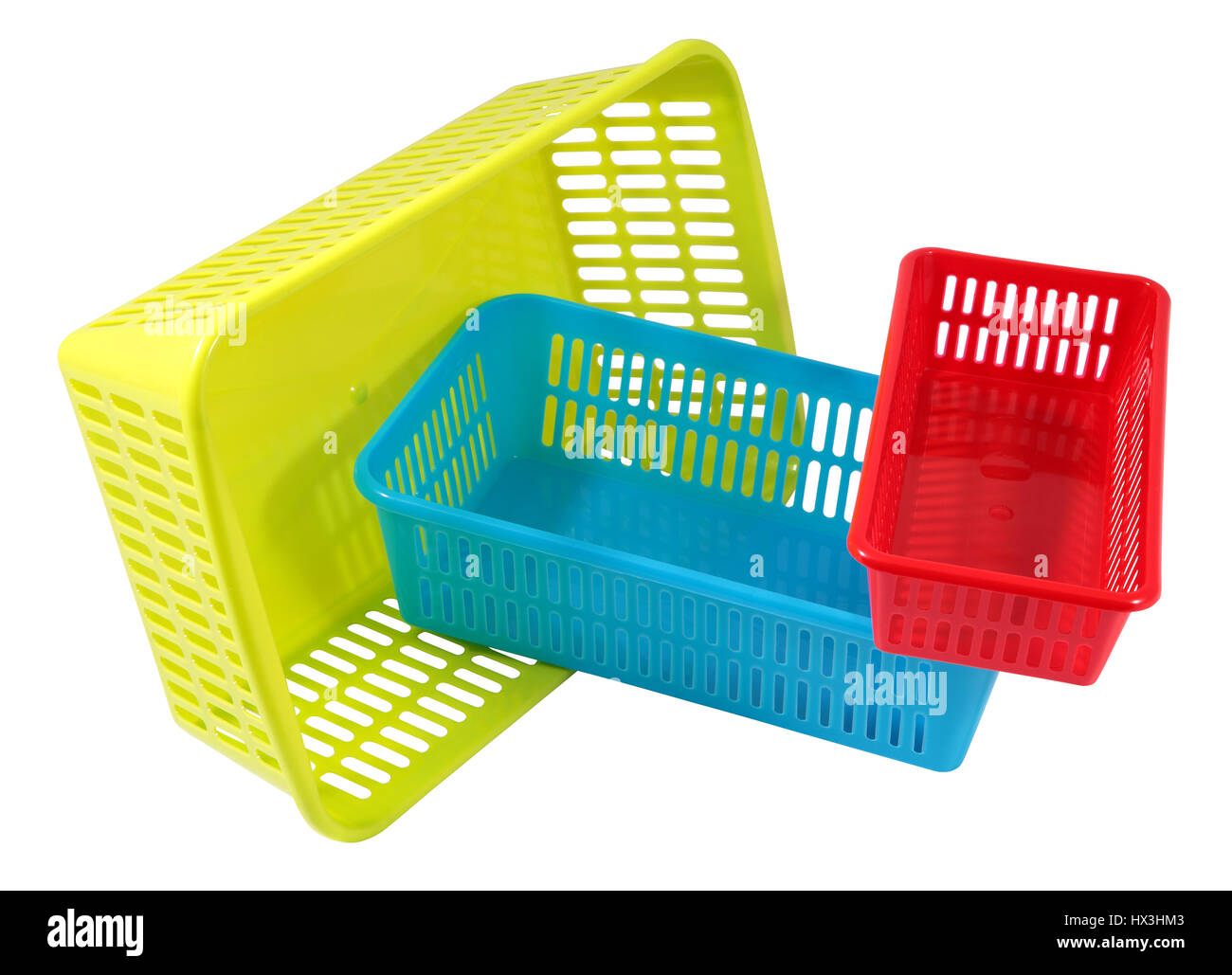 Set Of Colored Plastic Household Baskets For Storage, Three Small Containers  Of Different Sizes And