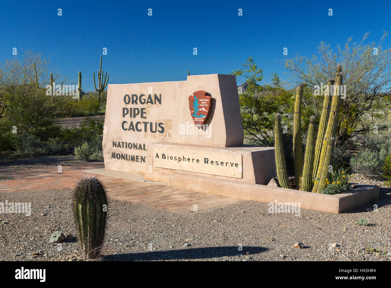 Entrance sign at the Organ Pipe Cactus National Monument, Arizona, USA. - Stock Image