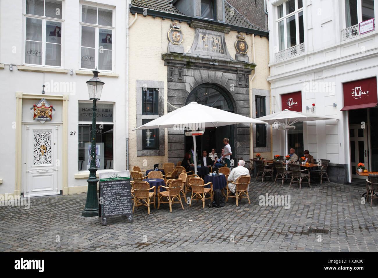 Pavement cafe, Maastricht, Limburg, Netherlands, Europe - Stock Image