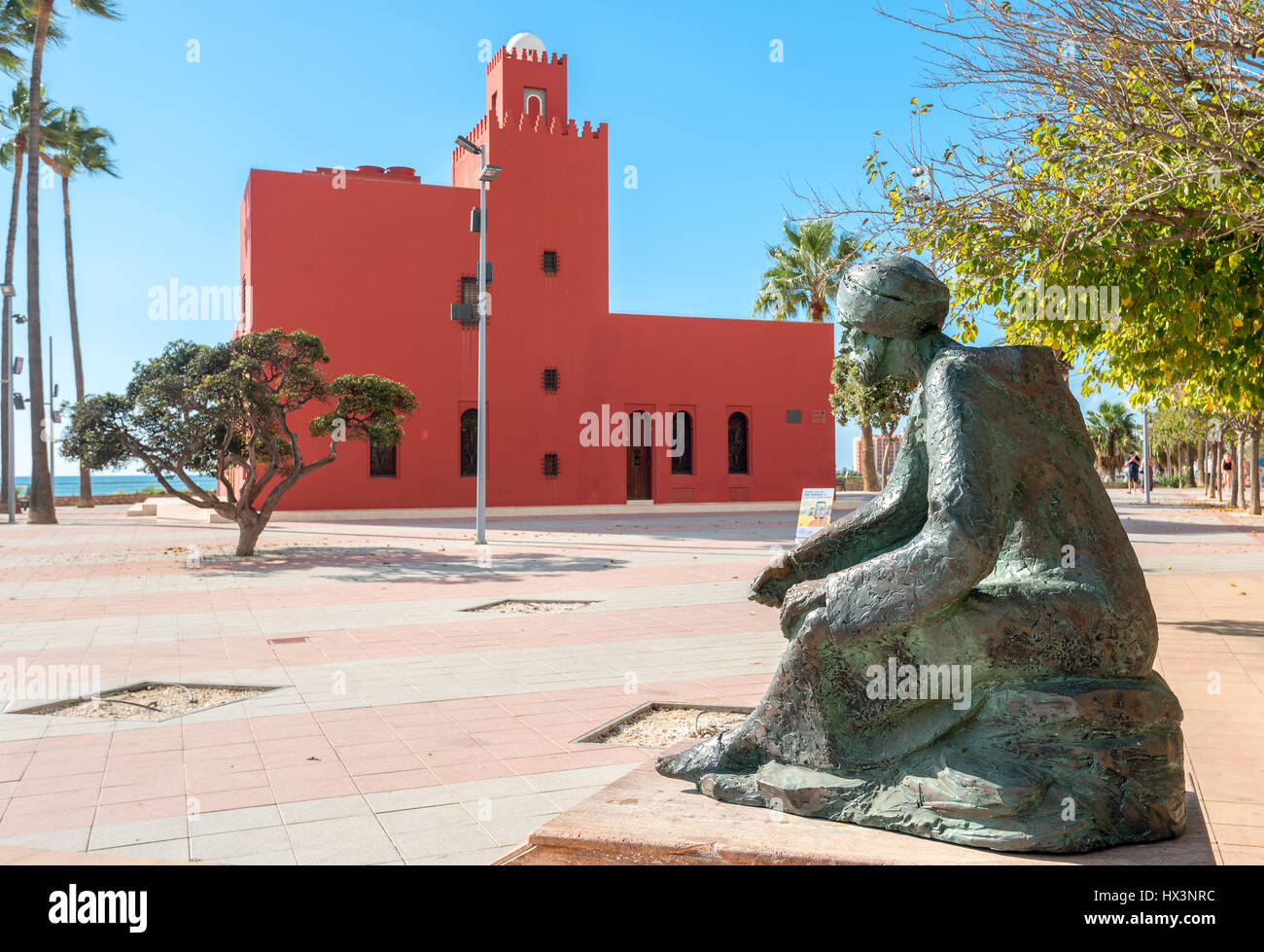 Monument of illustrious scholar Ibn al Baytar, (botanist and pharmacologist born at Middle Ages in Benalmadena) - Stock Image