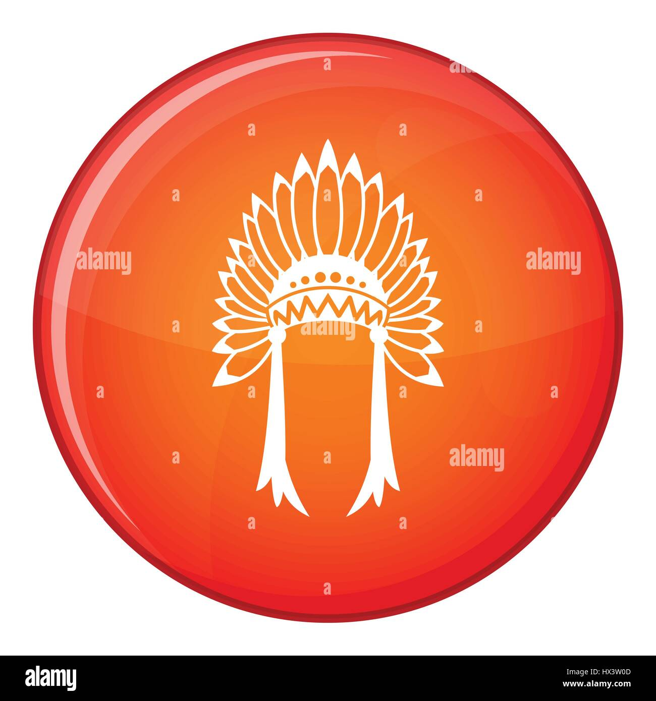 Indian headdress icon, flat style - Stock Image