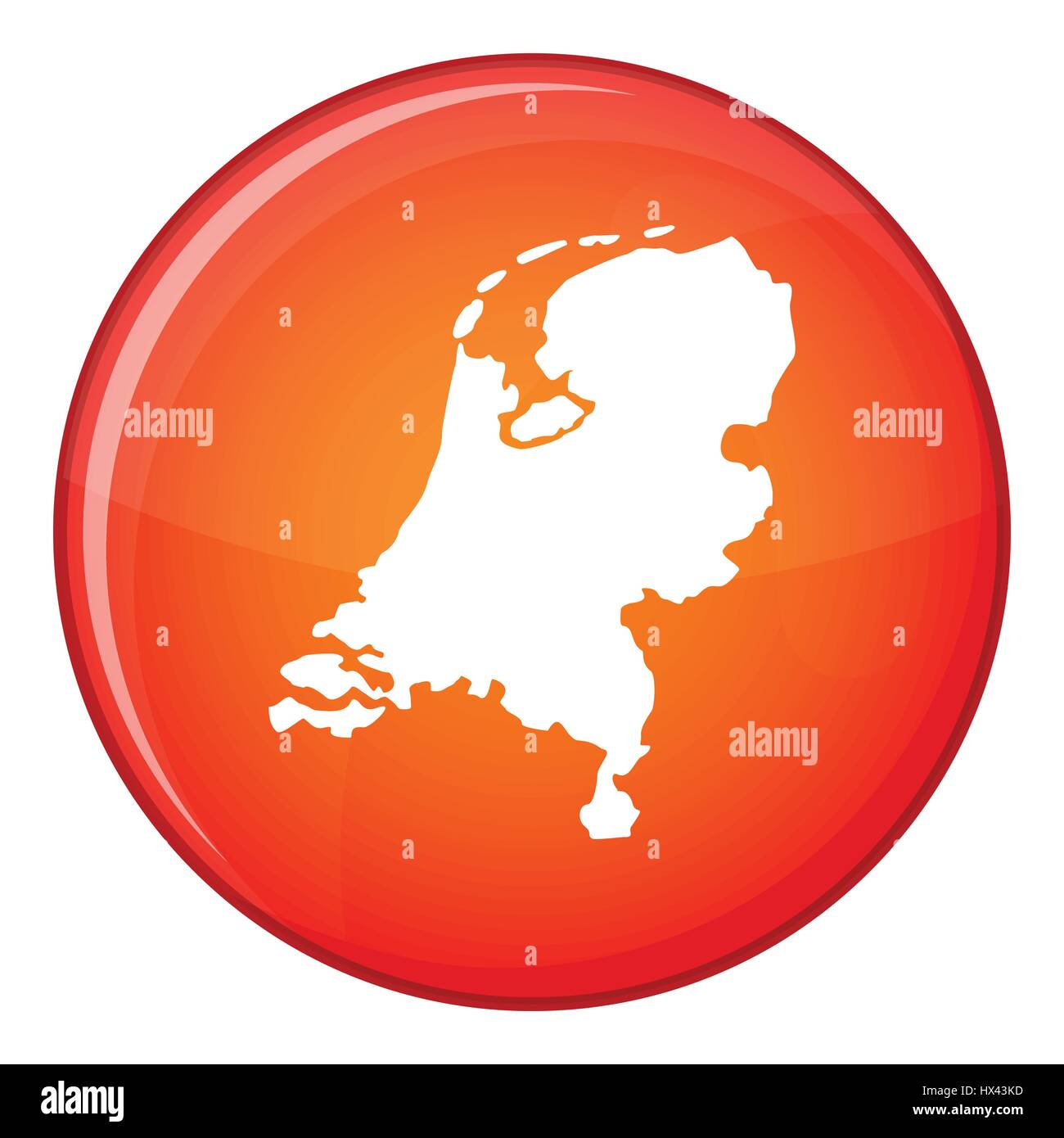 Holland map icon, flat style - Stock Vector