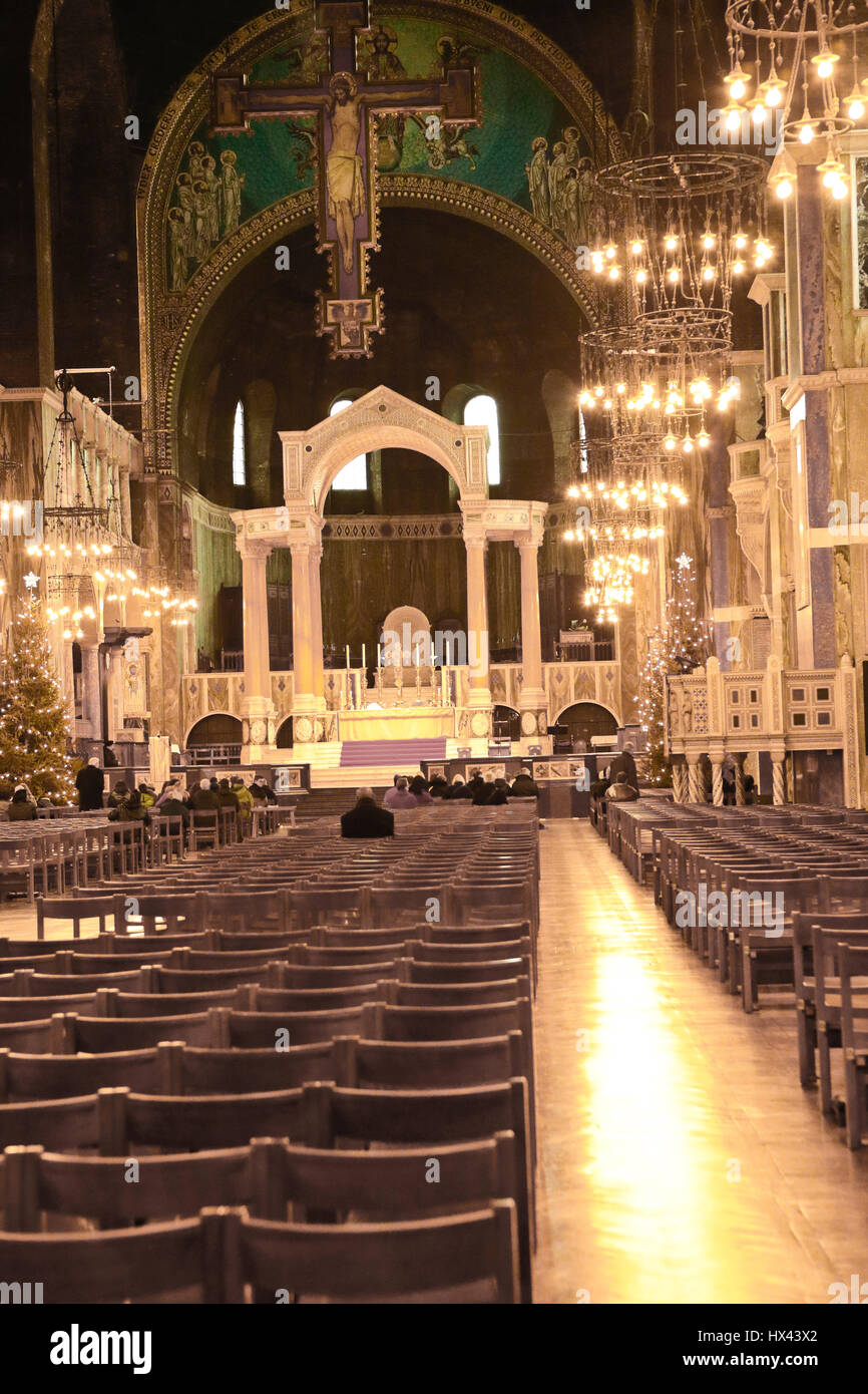 Interior of Westminster Cathedral on Ambrosden Avenue in Victoria, London, UK - Stock Image