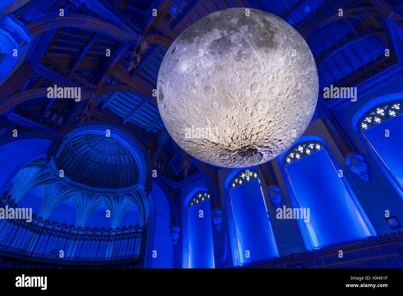 Luke Jerram's Museum of the Moon at the University of Bristol, Bristol, UK A large balloon covered in images of - Stock Image