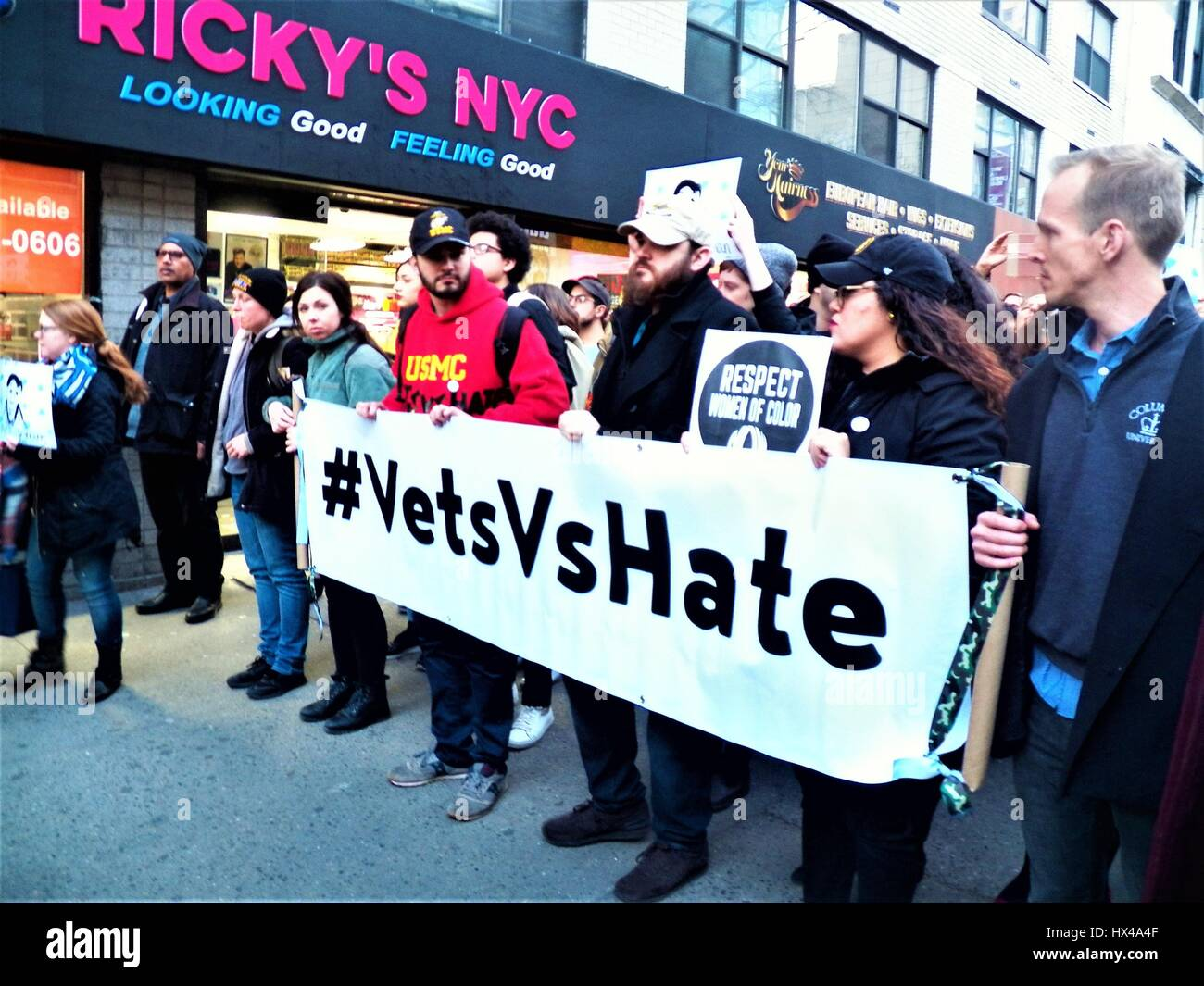 New York, New York, USA. 24th March, 2017. New York City Resists Hate Crimes Rally and March in response to Timothy - Stock Image