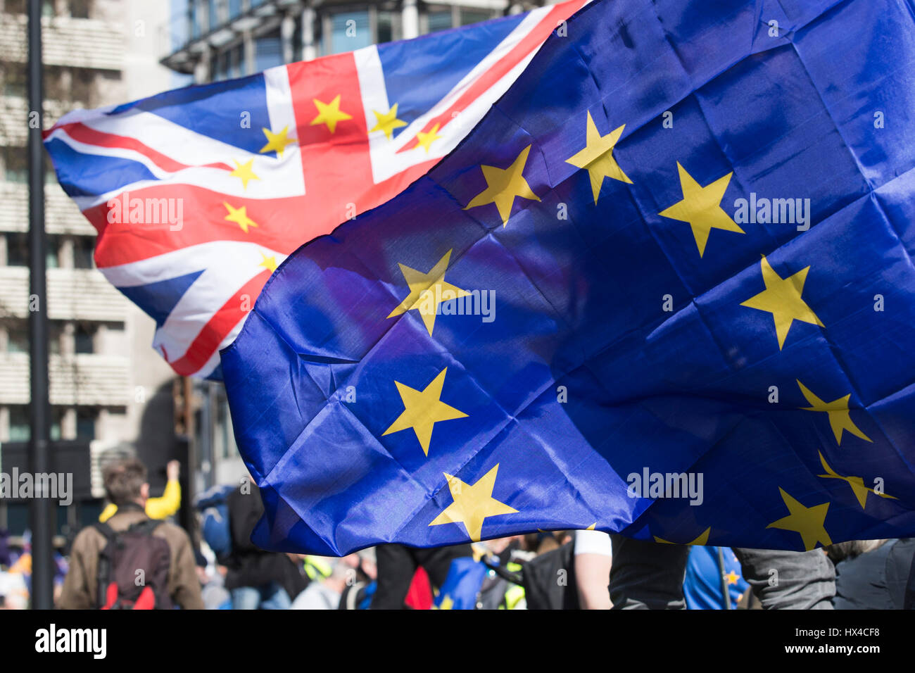 London, UK. 25 March 2017. Union Jack and European Union Flags, Union Flag with yellow EU stars. Unite for Europe - Stock Image