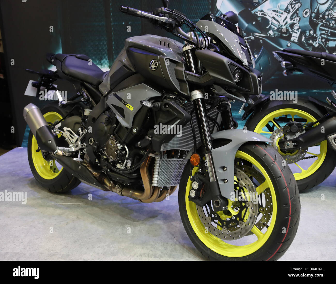 Yamaha Motor's MT-10 is displayed at the 44th Tokyo Motorcycle Show in Tokyo on Saturday, March 25, 2017. Some 130,000 motorcycle fans are expecting to ...