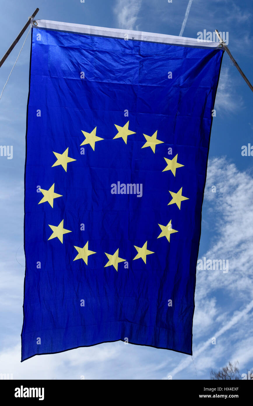 London, UK.  25 March 2017. European Union flags are held aloft as Anti-Brexit demonstrators take part in a march - Stock Image