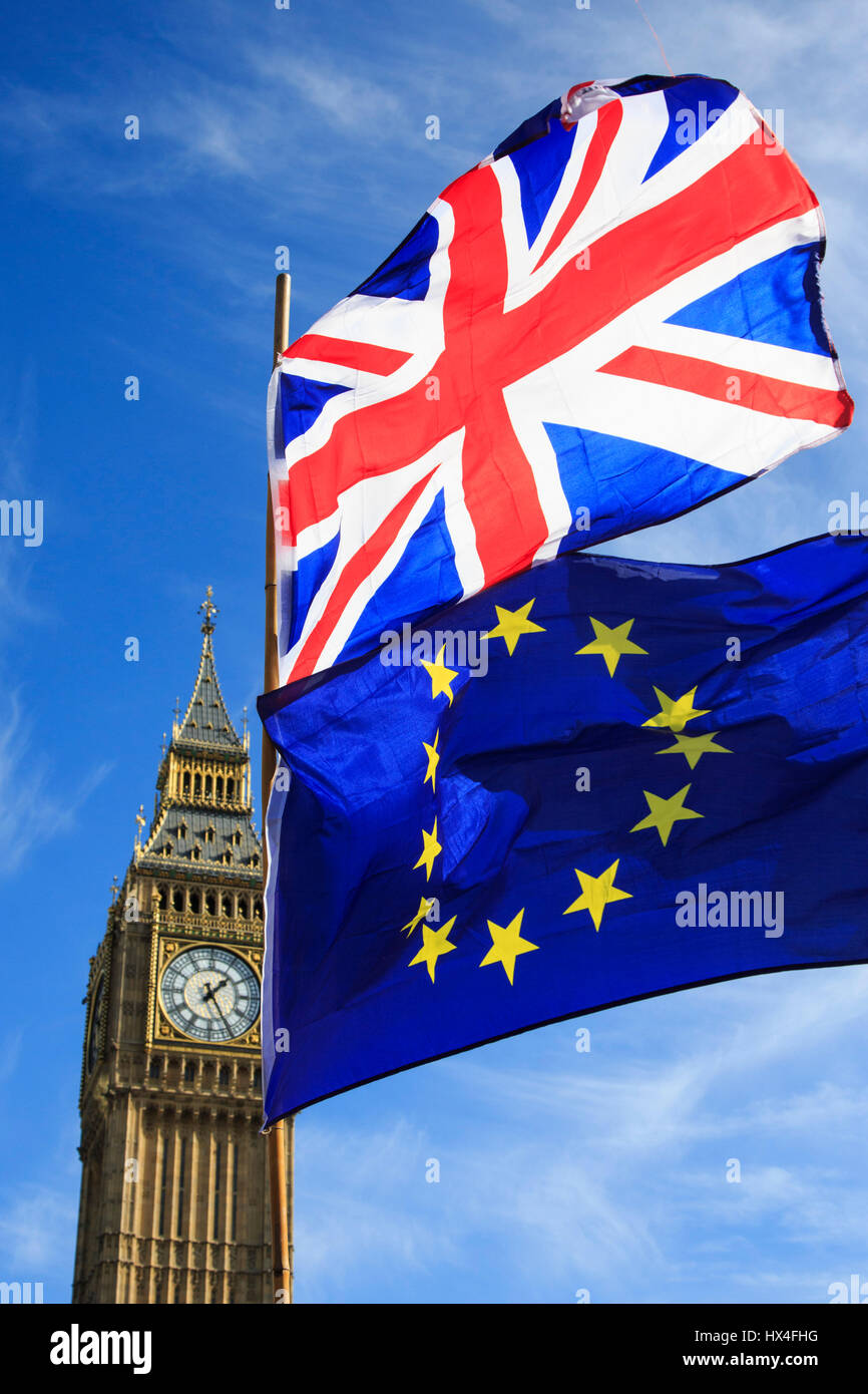 London, UK. 25 March 2017. After the Unite for Europe March, European Union flags and Union Flags fly in front of - Stock Image