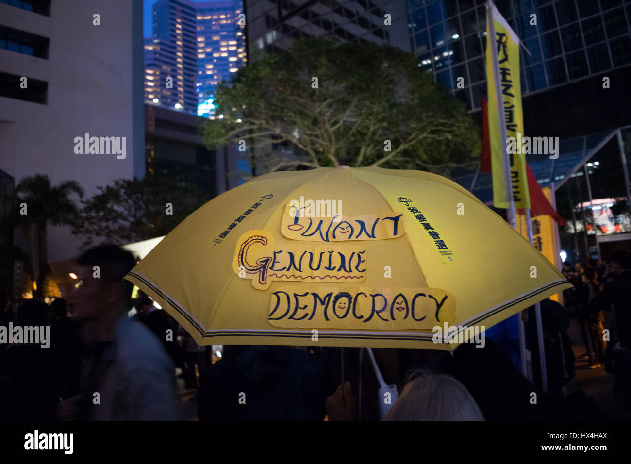 Hong Kong SAR, China. 25th March, 2017. Democracy protests and demonstrations as Hong Kong votes for a new Chief Stock Photo