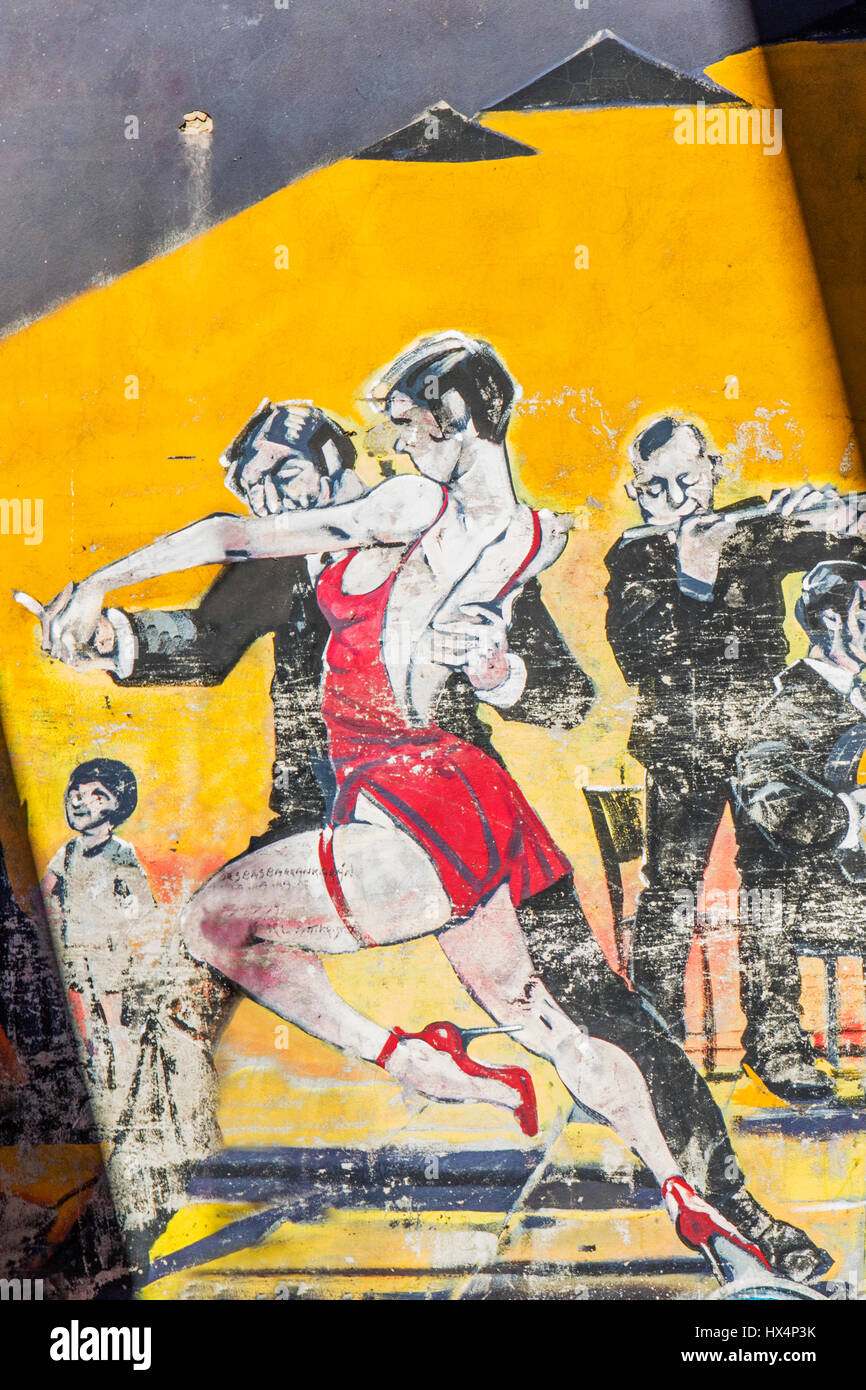 Tango dancers wall art in San Telmo. Buenos Aires, Argentina Stock ...