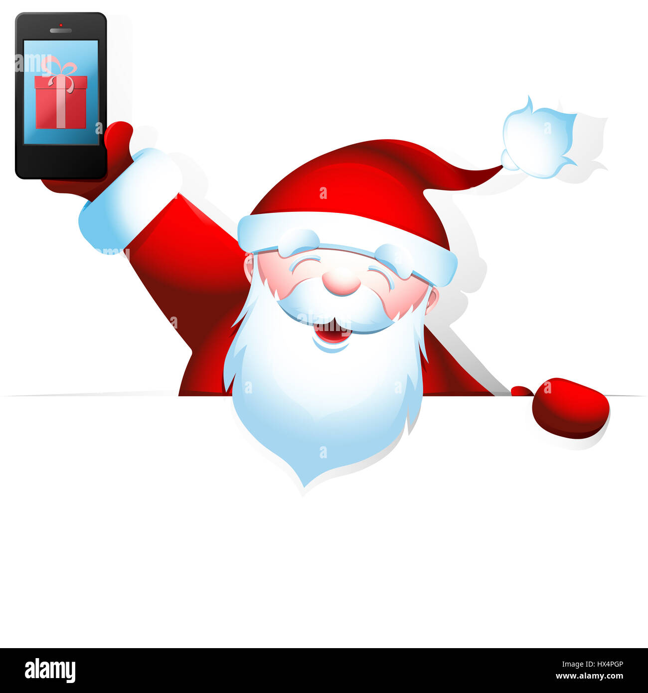 Cheerful Santa Claus holding a mobile phone in one hand and a blank banner with space for your text in another. - Stock Image