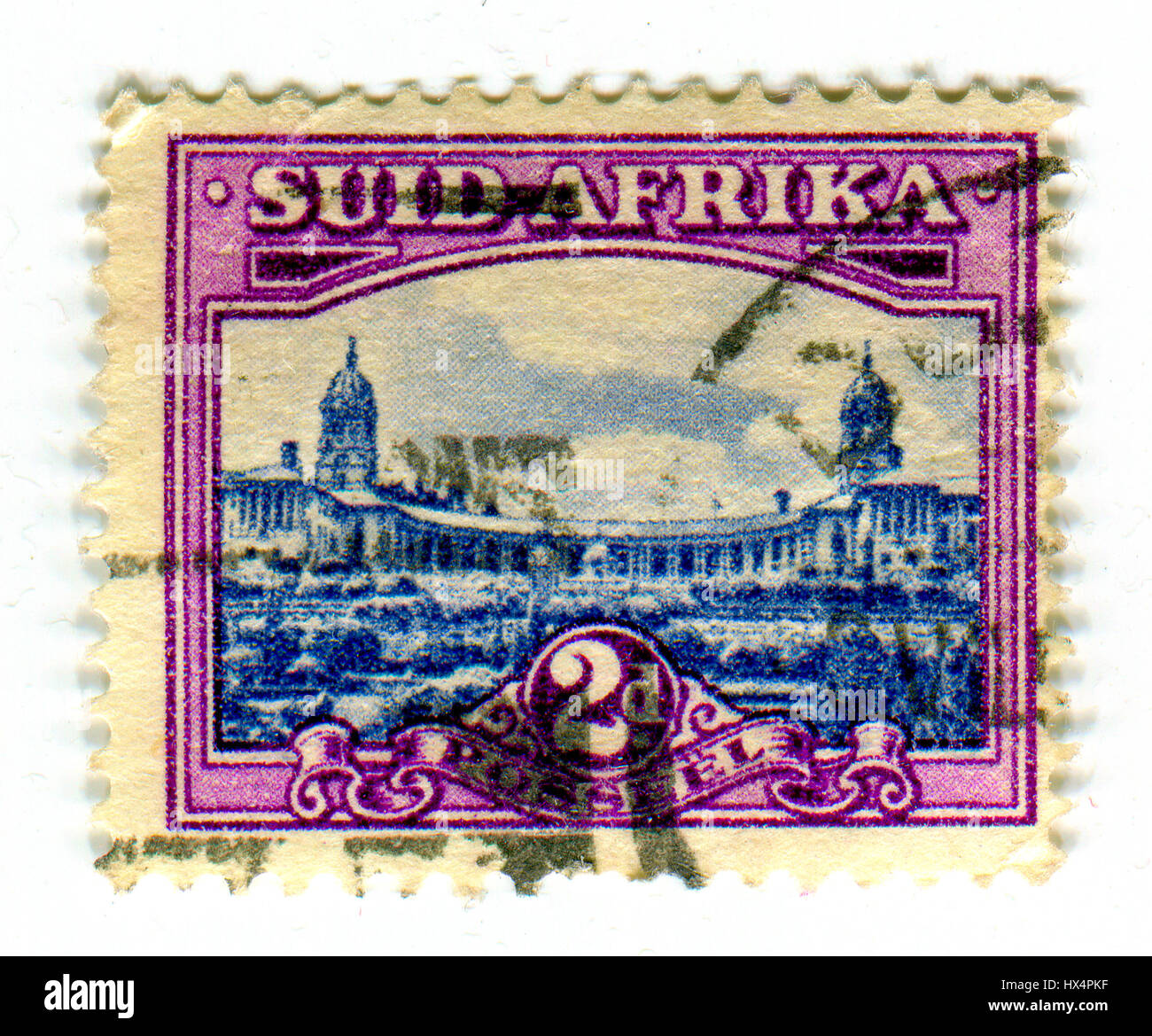 GOMEL, BELARUS, 24 MARCH 2017, Stamp printed in Suid Africa shows image of the Union Buildings form the official - Stock Image