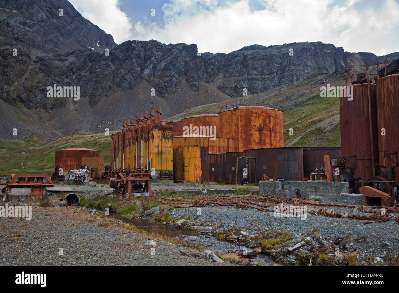 Remains of previous Whaling Station at Grytviken Harbour, South Georgia - Stock Image