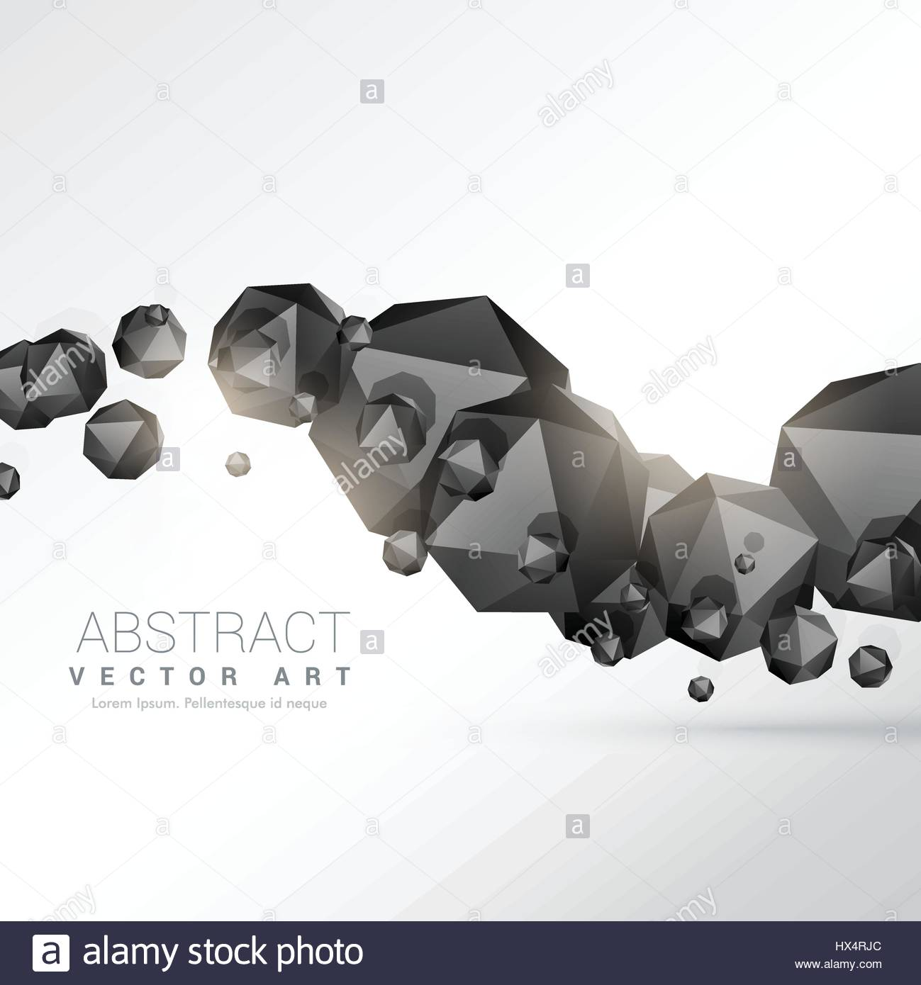 abstract floating black polyhedron shapes 3d objects - Stock Image