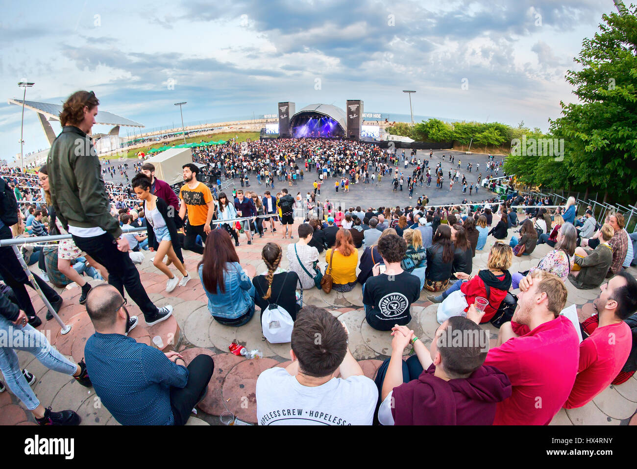 BARCELONA - MAY 29: People at Primavera Sound 2015 Festival on May 29, 2015 in Barcelona, Spain. - Stock Image