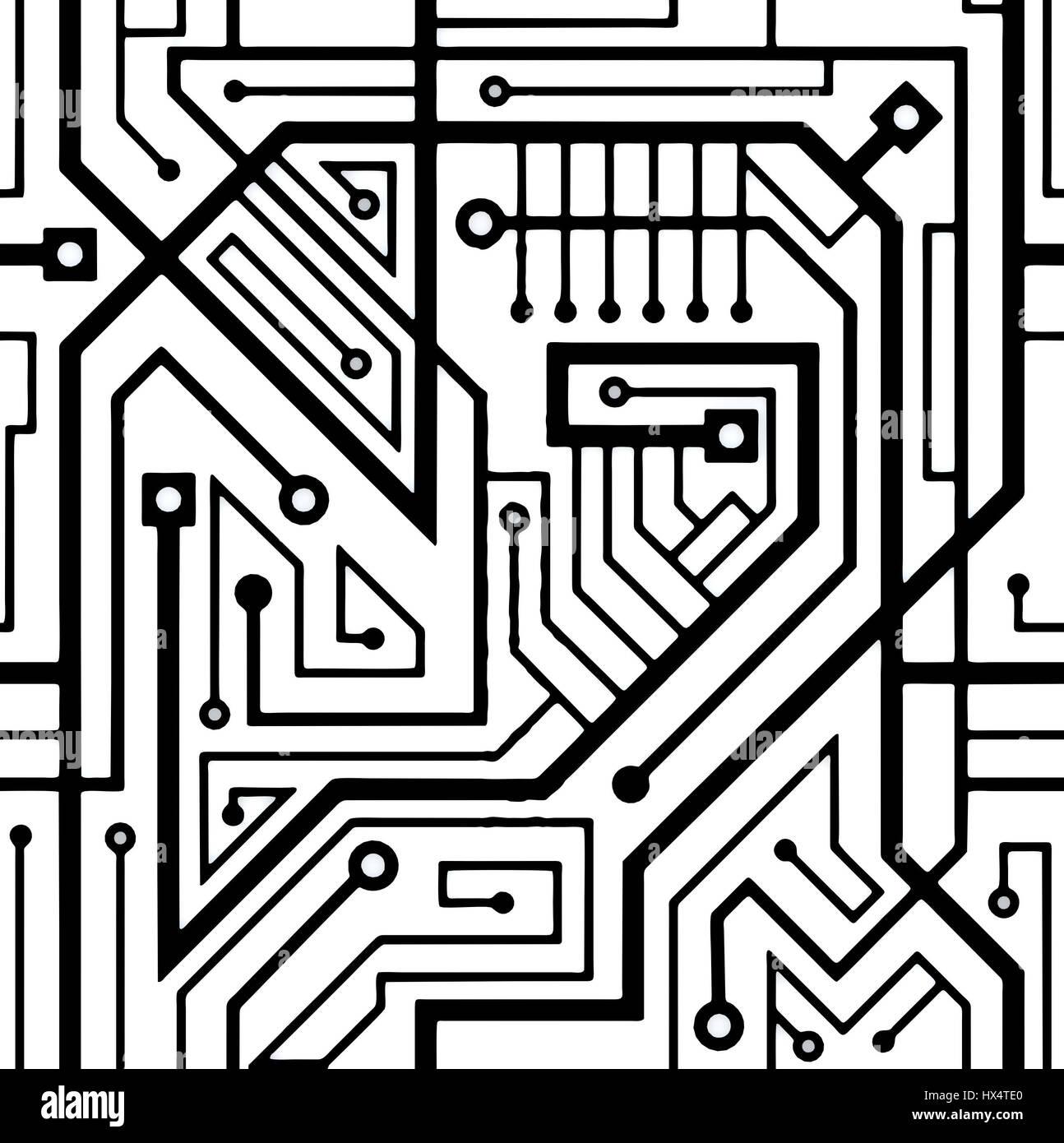 Black White Circuit Board Background Stock Photos & Black White ...