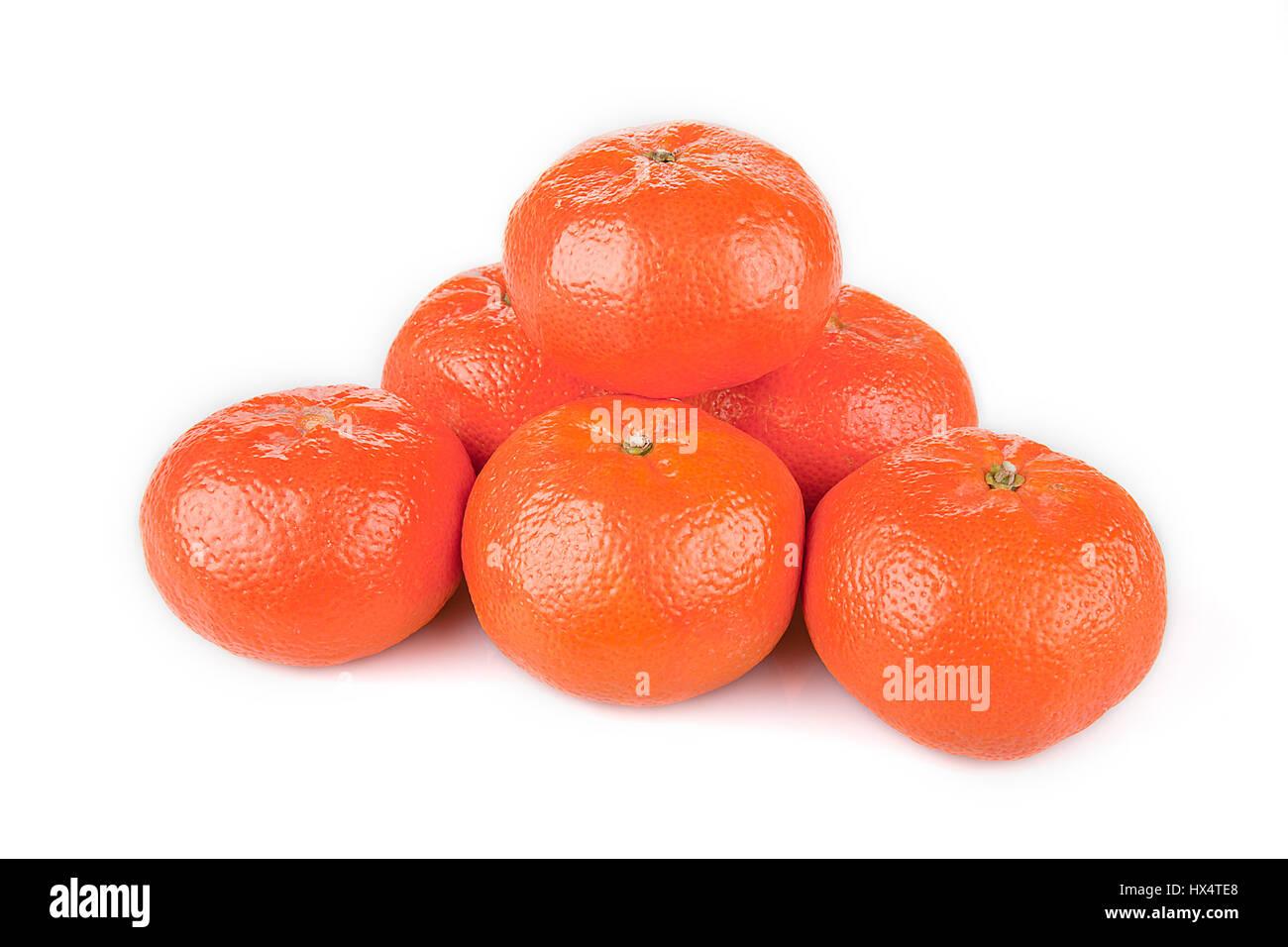 Pile of bright mandarins isolated on white background. - Stock Image