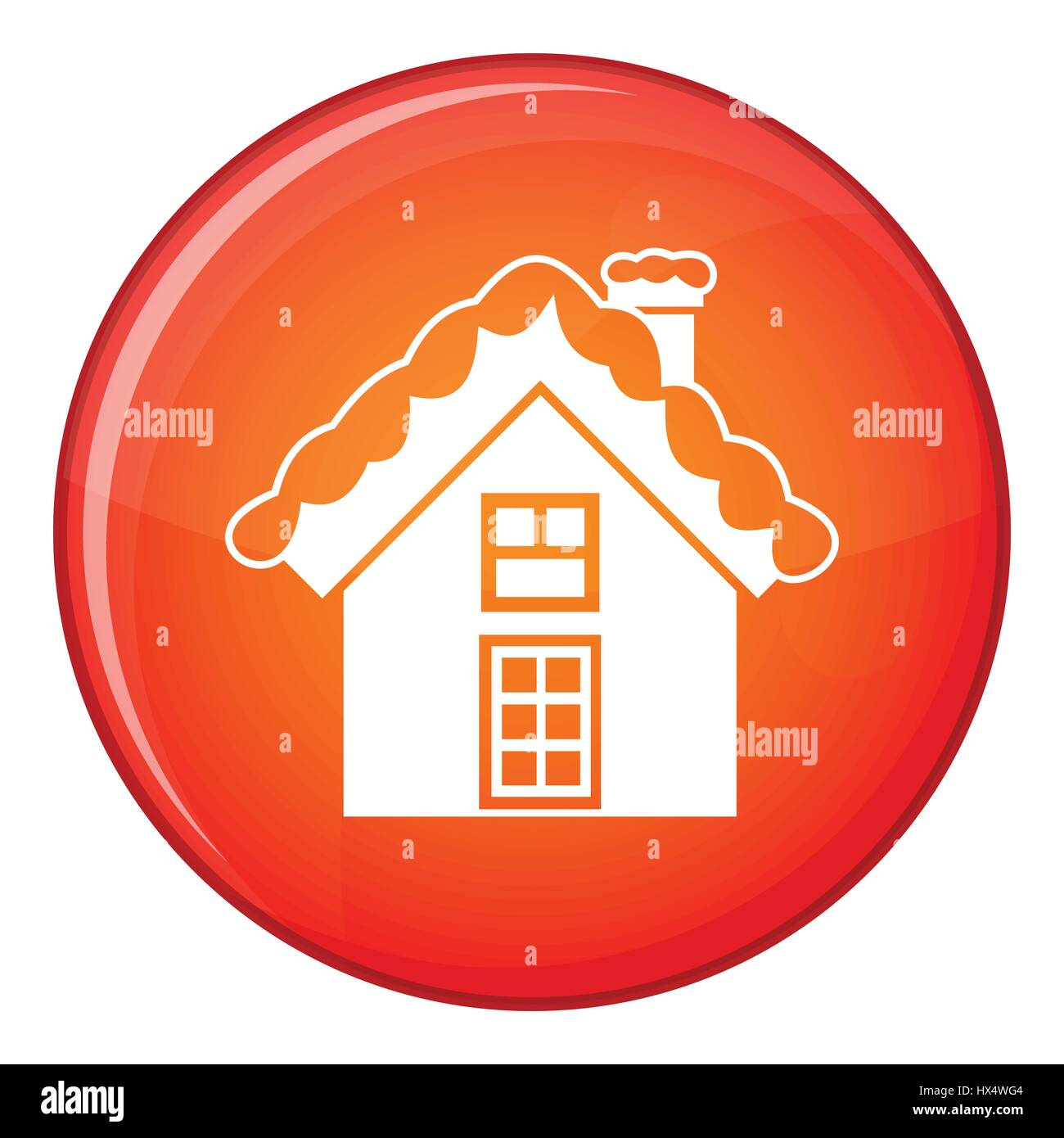 Small snowy cottage icon, flat style - Stock Image